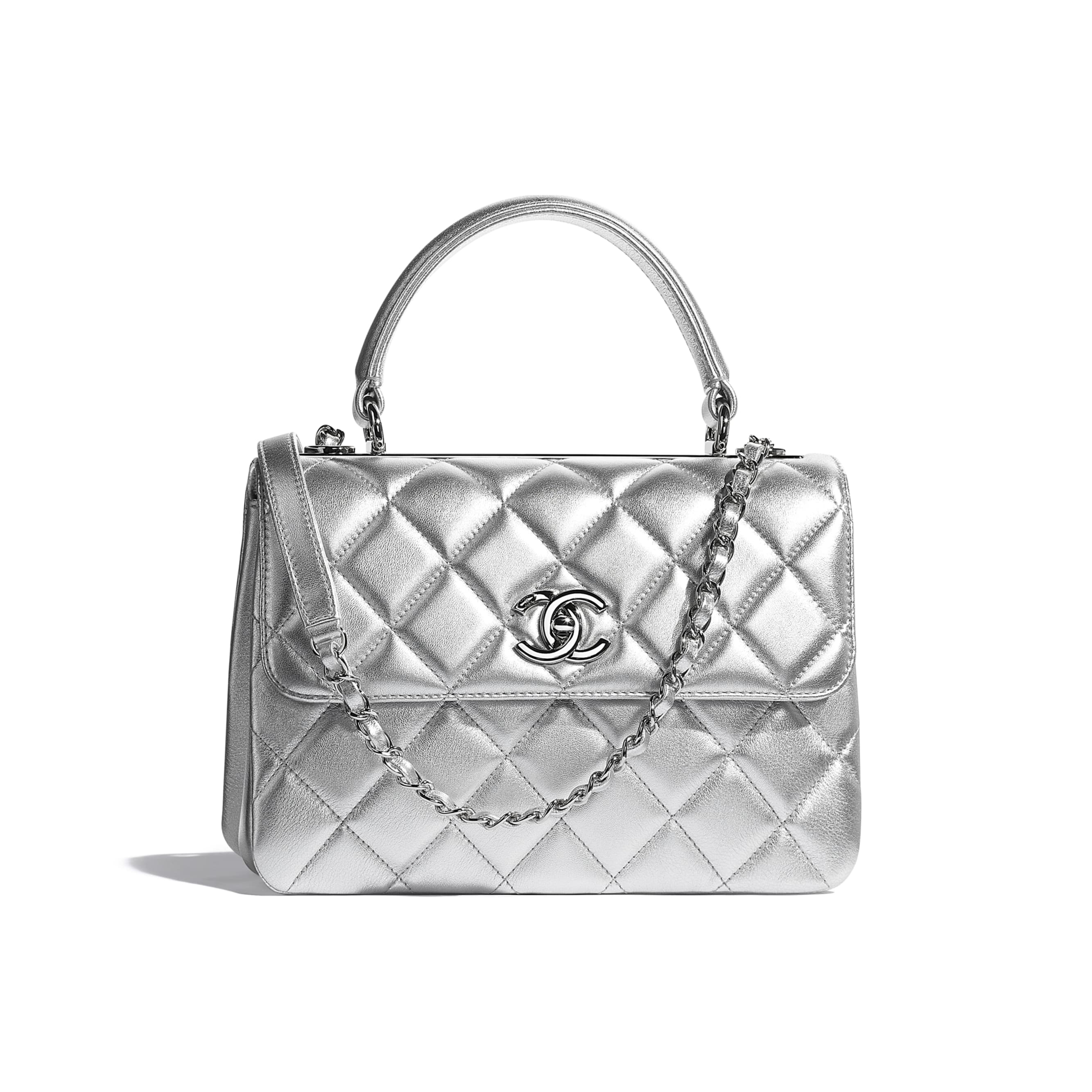 Flap Bag With Top Handle - Silver - Metallic Lambskin & Silver Metal - CHANEL - Default view - see standard sized version