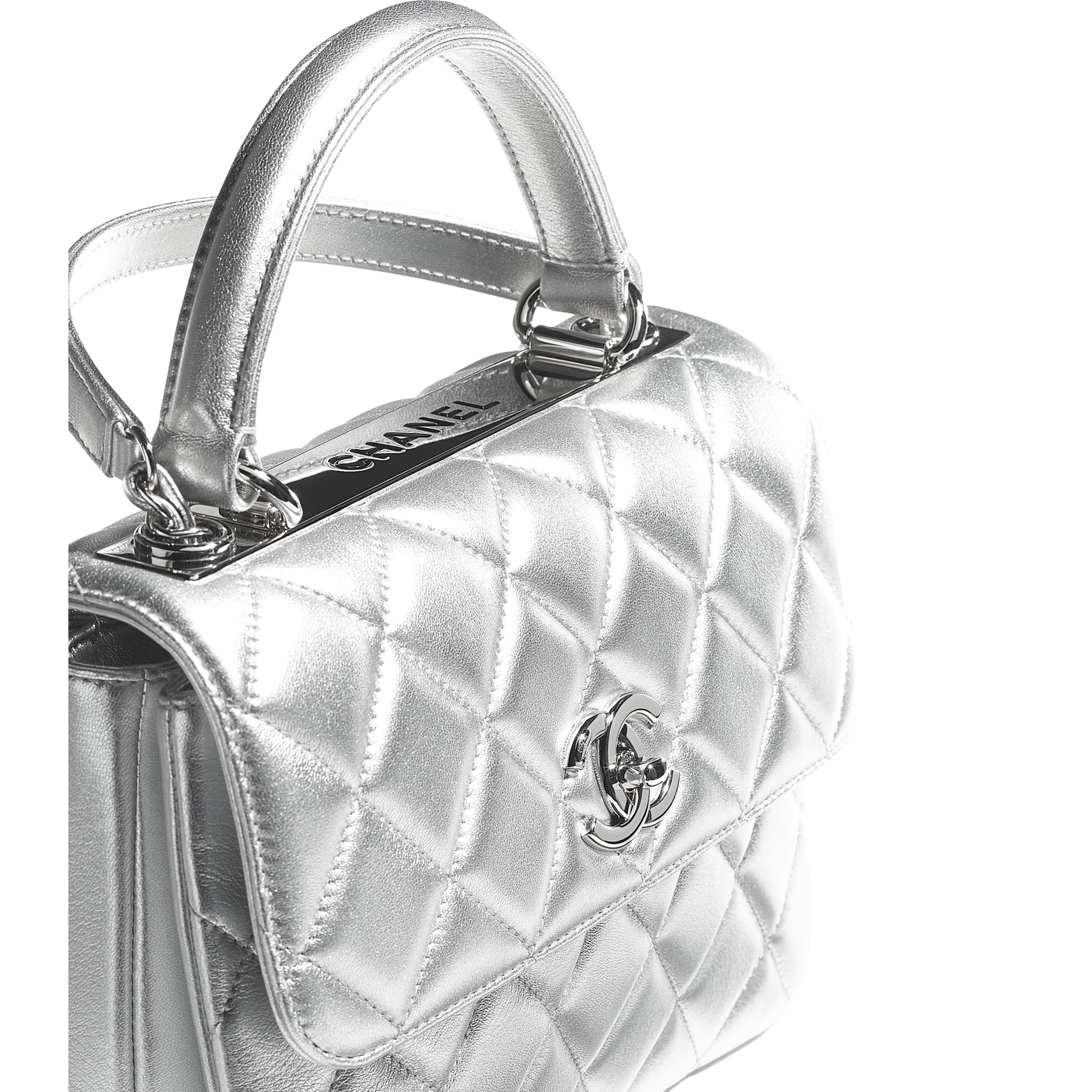 Flap Bag With Top Handle - Silver - Metallic Lambskin & Silver Metal - CHANEL - Extra view - see standard sized version