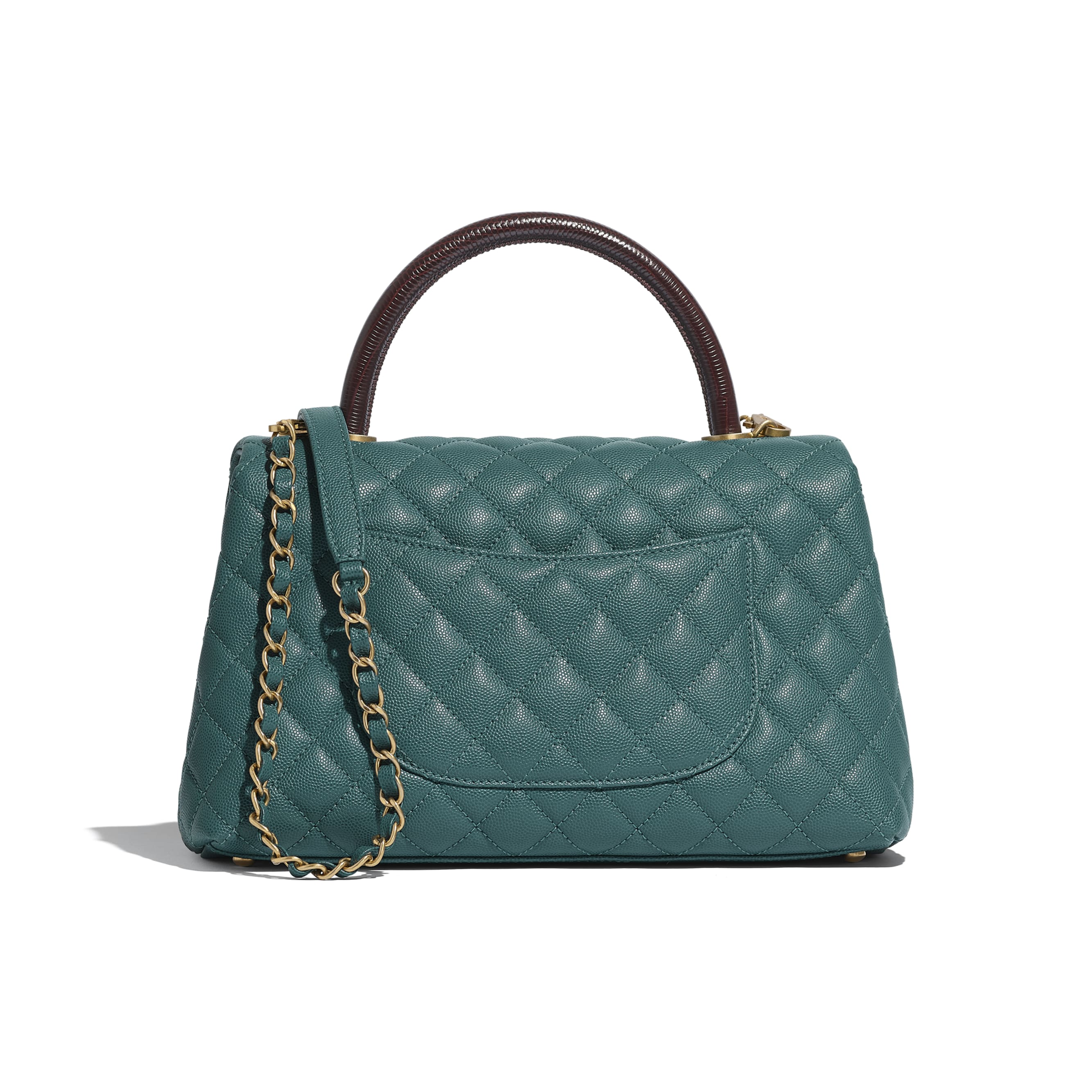 Flap Bag with Top Handle - Turquoise & Burgundy - Grained Calfskin, Lizard Embossed Calfskin & Gold-Tone Metal - Alternative view - see standard sized version