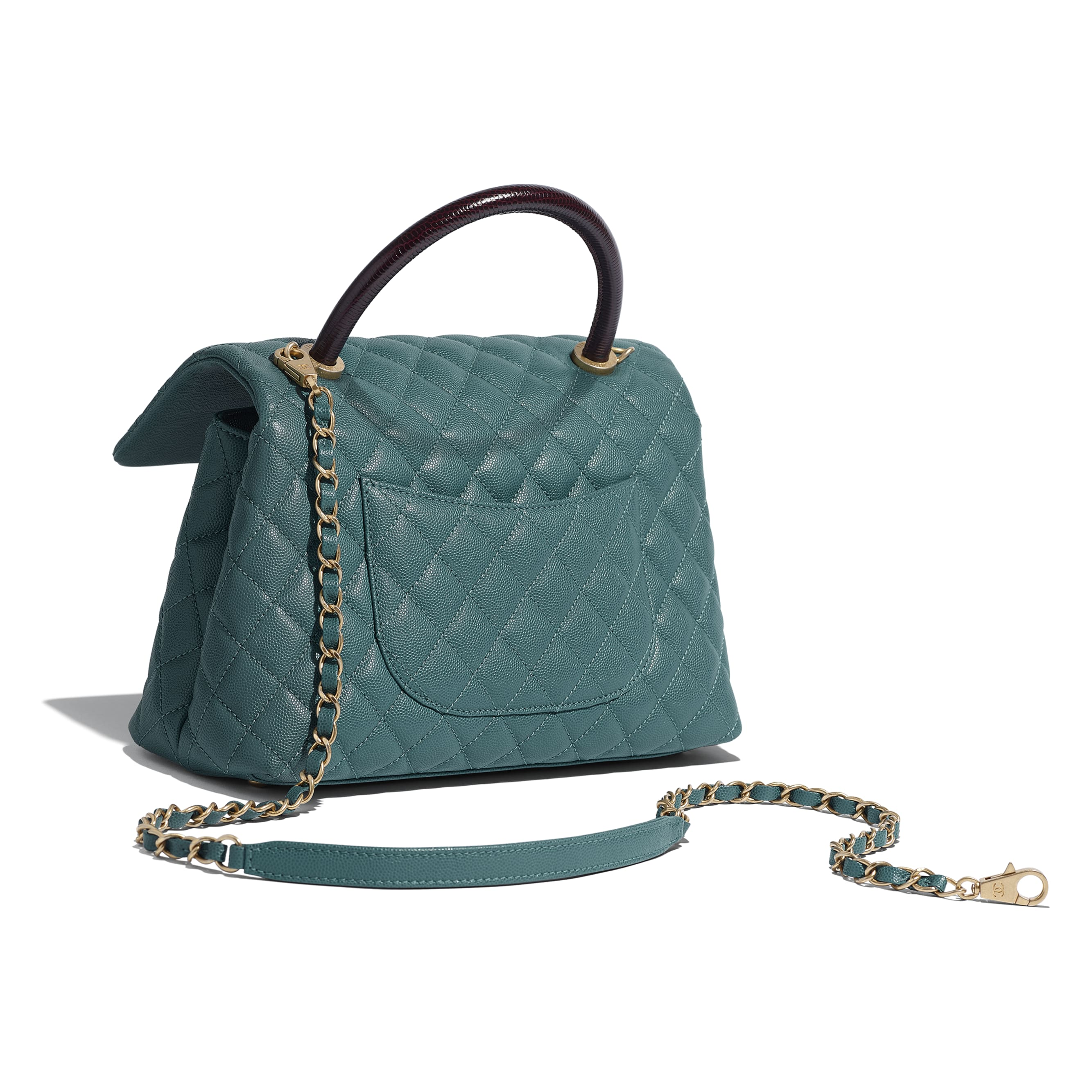 Flap Bag with Top Handle - Turquoise & Burgundy - Grained Calfskin, Lizard Embossed Calfskin & Gold-Tone Metal - Other view - see standard sized version