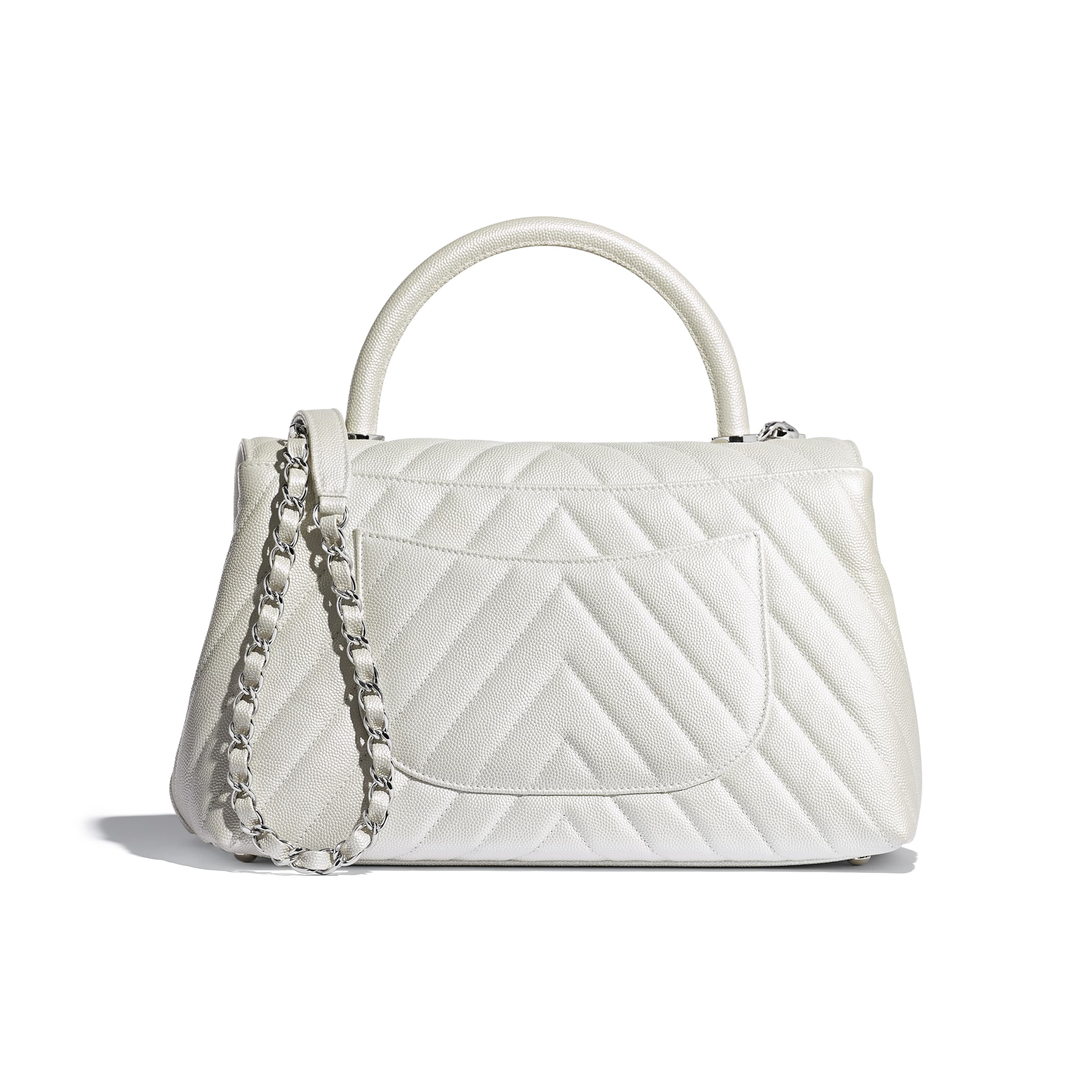 Flap Bag With Top Handle - White - Iridescent Grained Calfskin & Silver-Tone Metal - Alternative view - see standard sized version