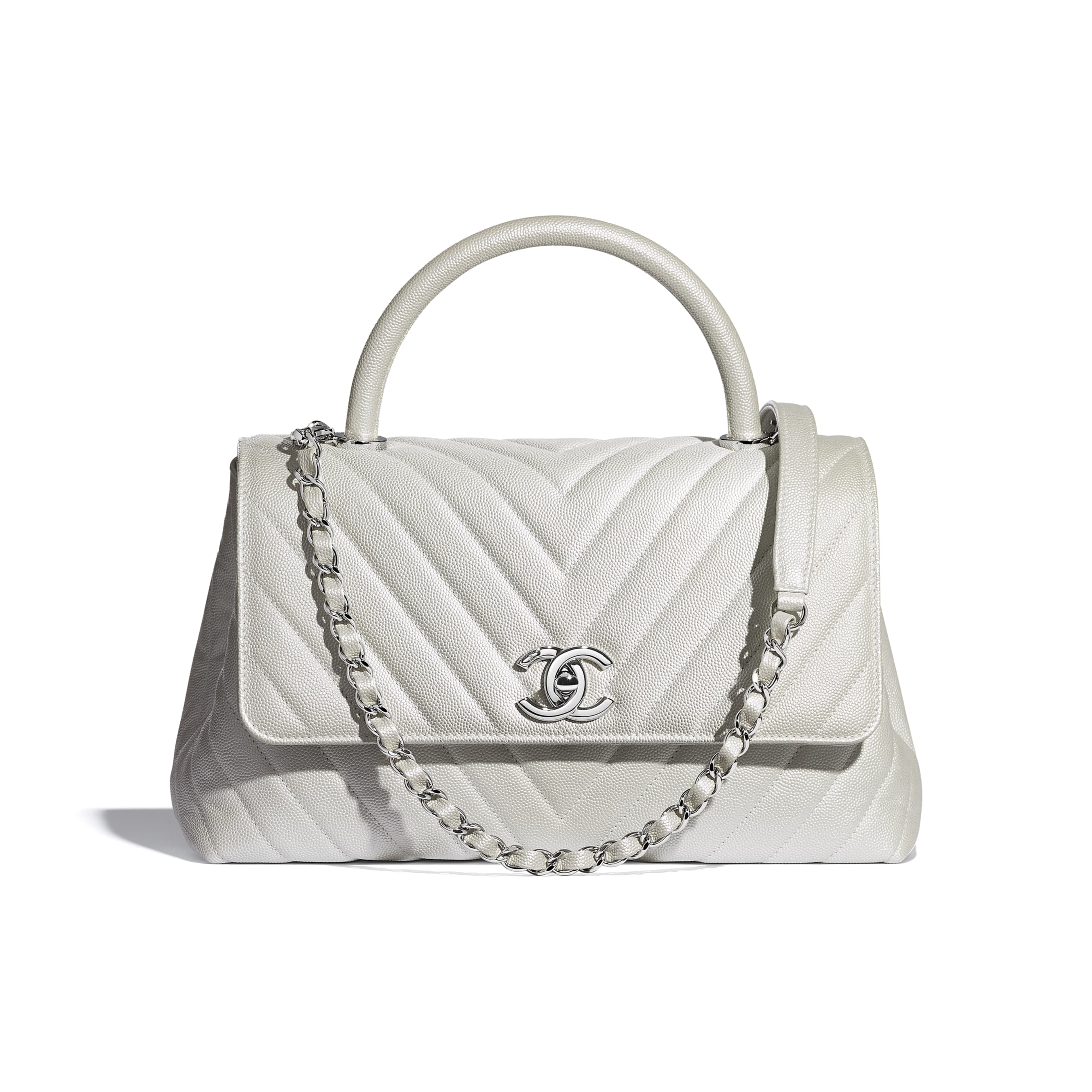 Flap Bag With Top Handle - White - Iridescent Grained Calfskin & Silver-Tone Metal - Default view - see standard sized version