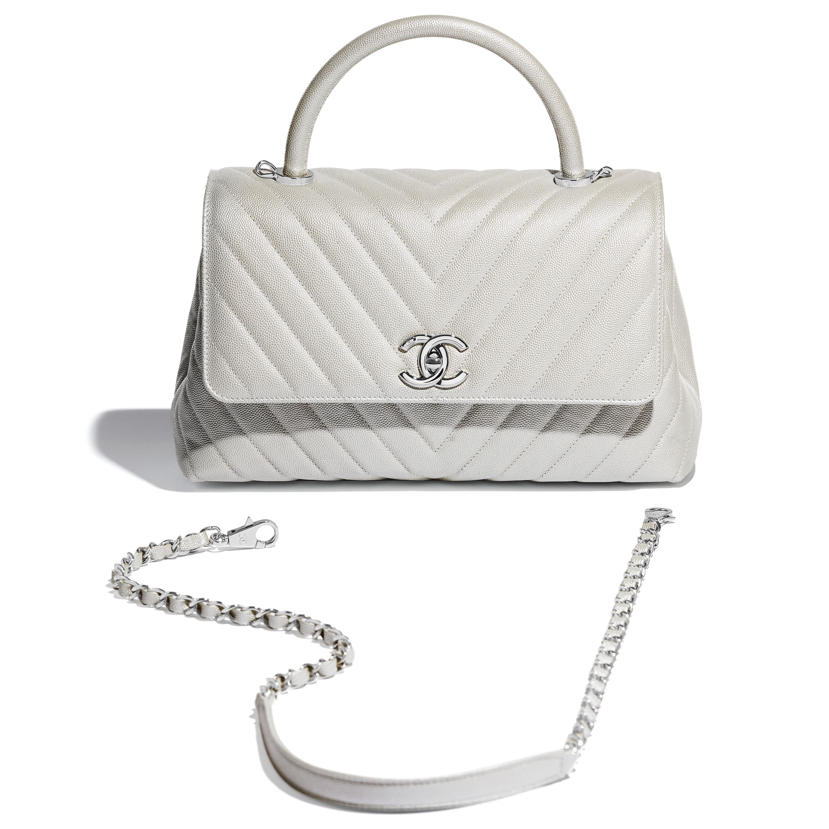 Flap Bag With Top Handle - White - Iridescent Grained Calfskin & Silver-Tone Metal - Extra view - see standard sized version