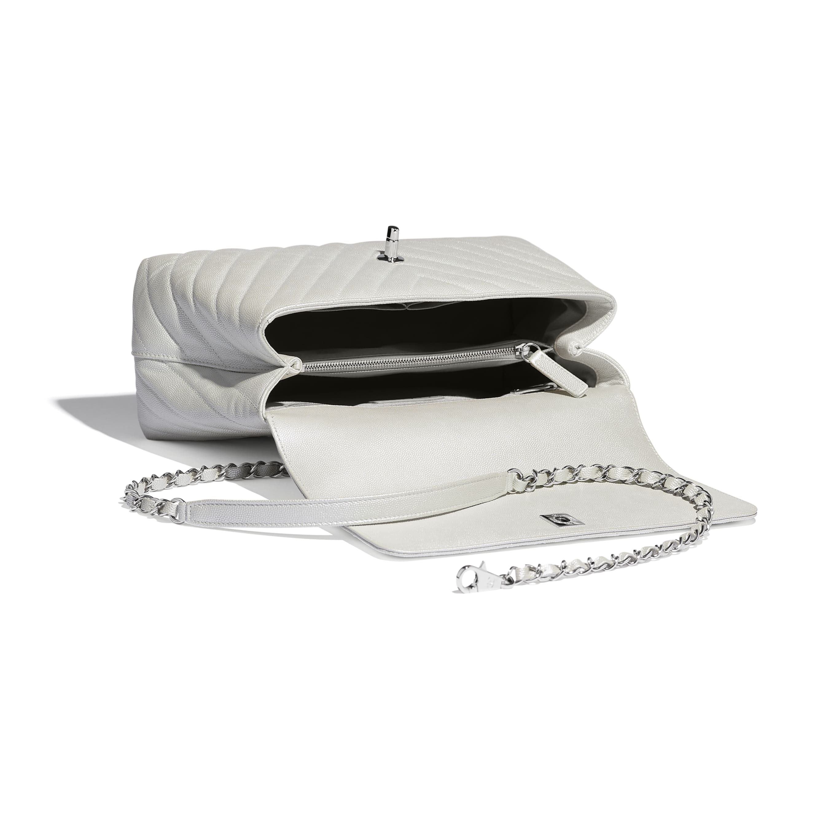 Flap Bag With Top Handle - White - Iridescent Grained Calfskin & Silver-Tone Metal - Other view - see standard sized version