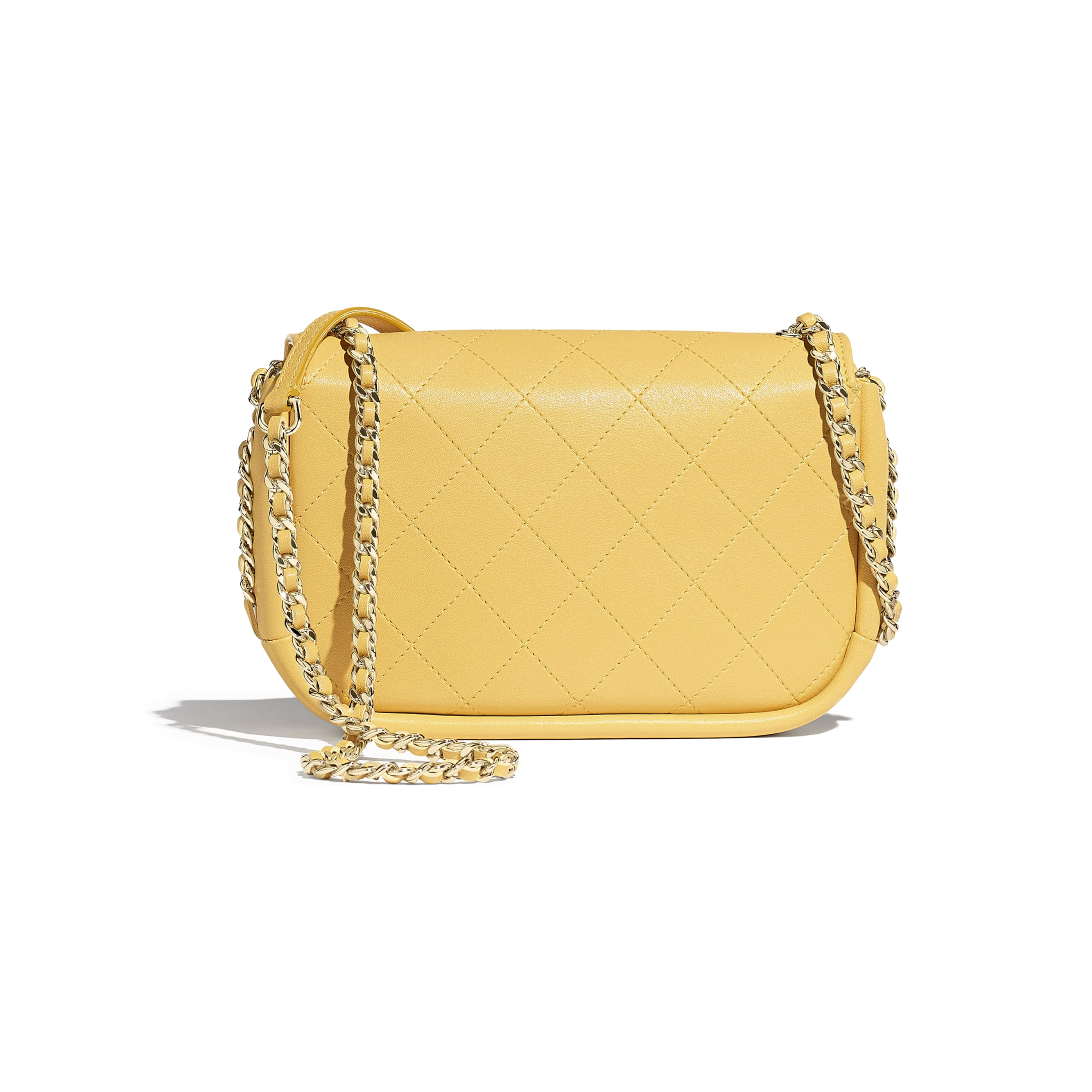Flap Bag - Yellow - Lambskin & Gold-Tone Metal - Alternative view - see standard sized version