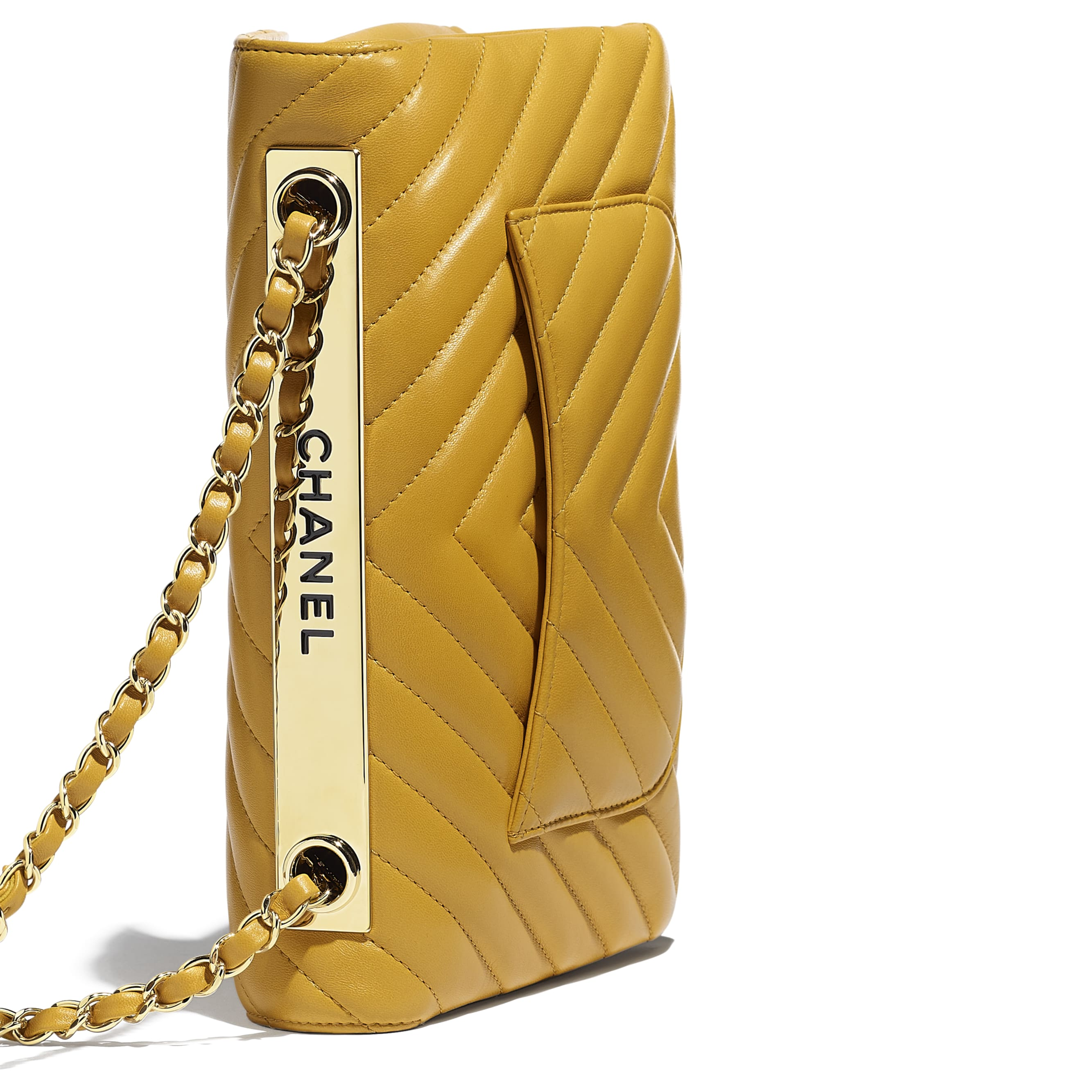 Flap Bag - Yellow - Lambskin - Extra view - see standard sized version