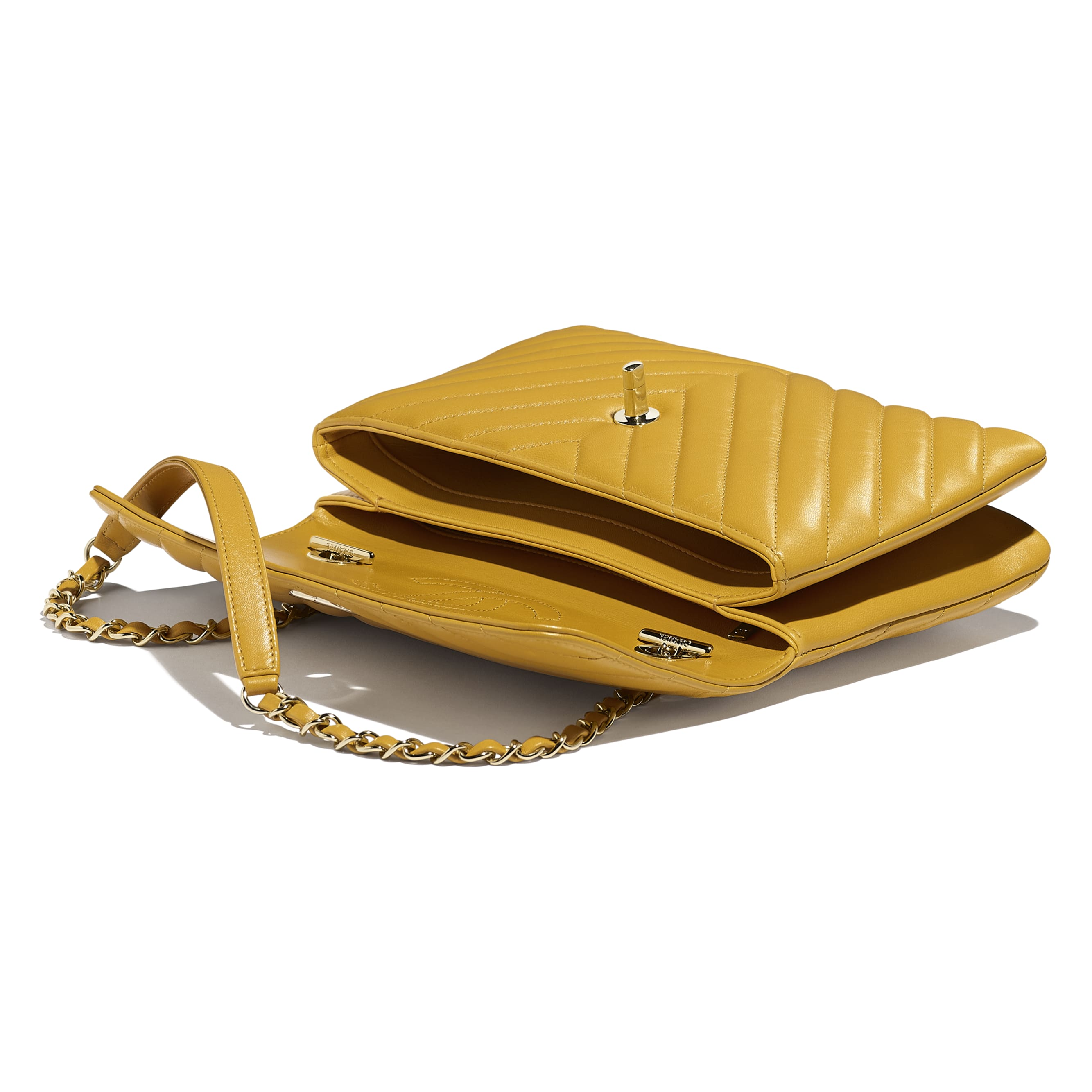 Flap Bag - Yellow - Lambskin - Other view - see standard sized version
