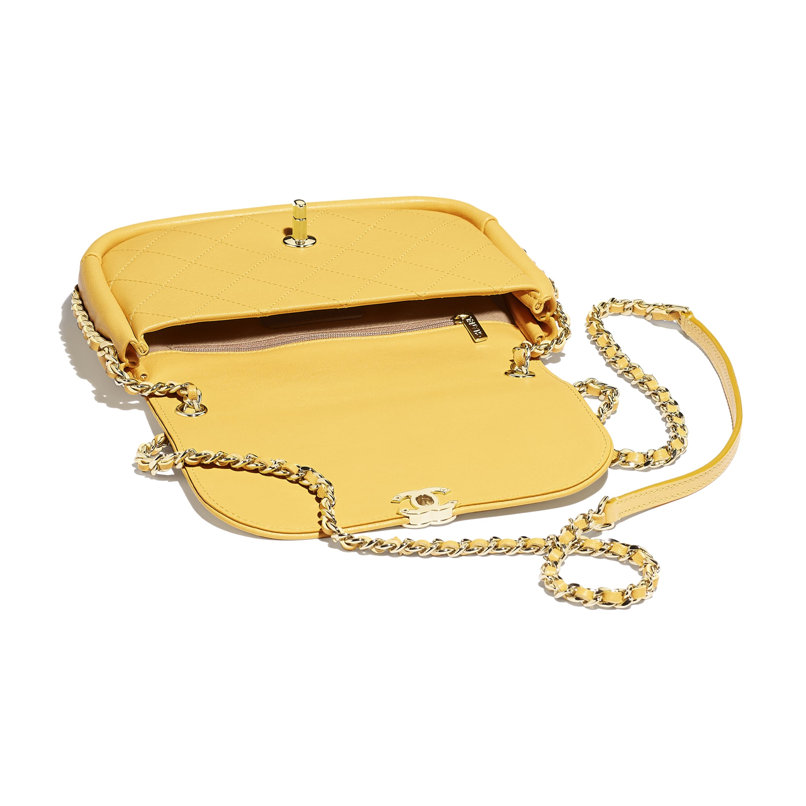 Flap Bag - Yellow - Lambskin & Gold-Tone Metal - Other view - see standard sized version