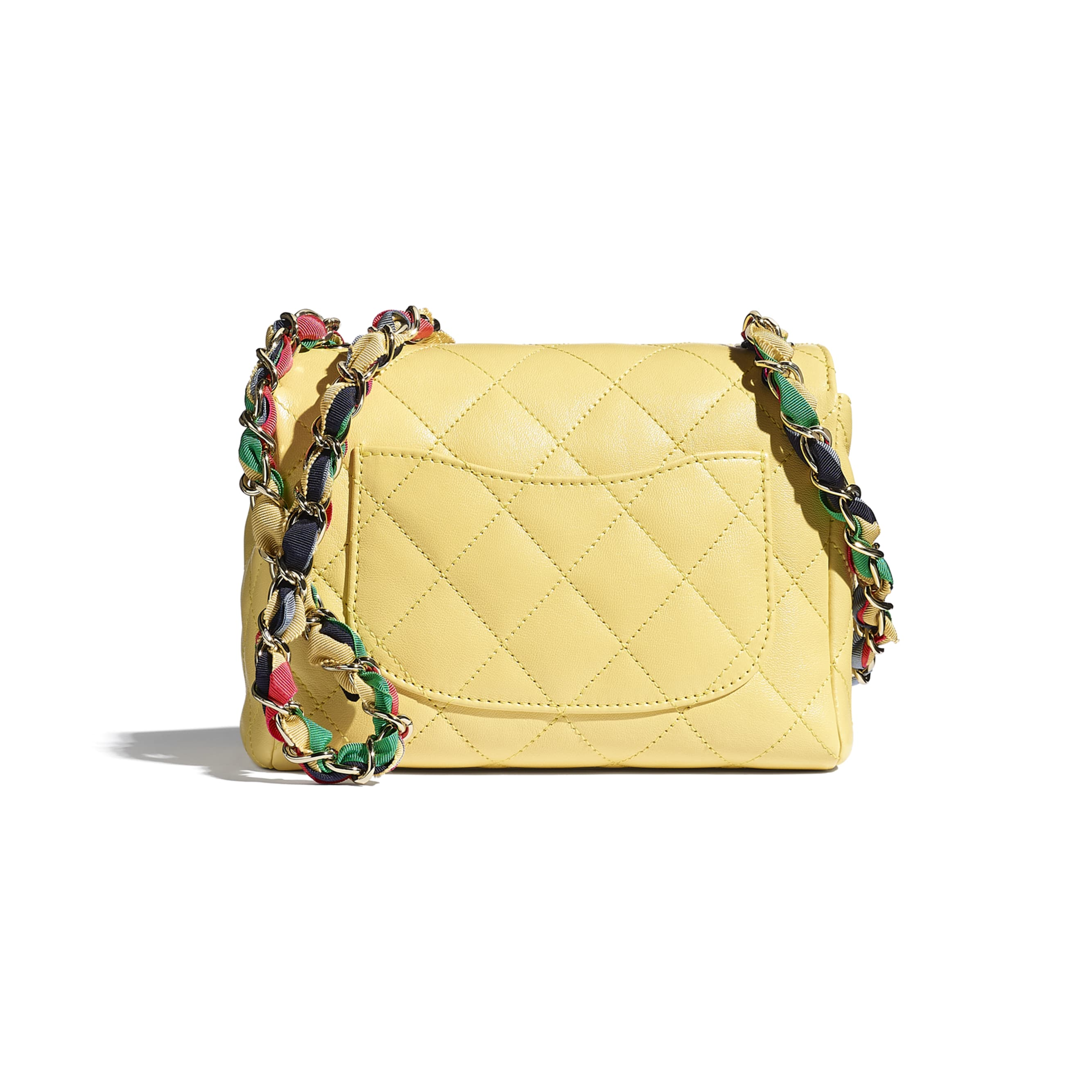 Flap Bag - Yellow - Lambskin, Mixed Fibers & Gold-Tone Metal - CHANEL - Alternative view - see standard sized version
