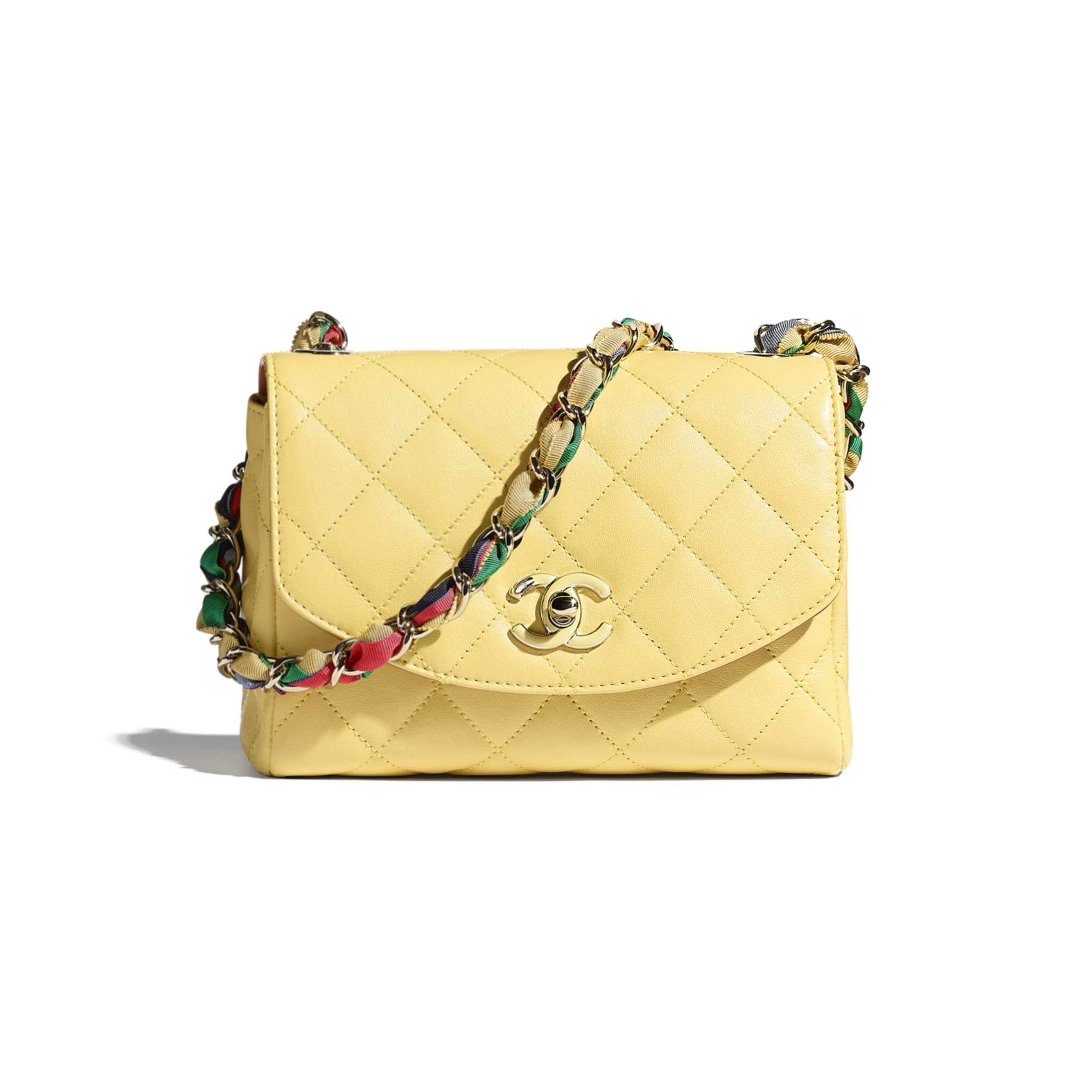Flap Bag - Yellow - Lambskin, Mixed Fibers & Gold-Tone Metal - CHANEL - Default view - see standard sized version