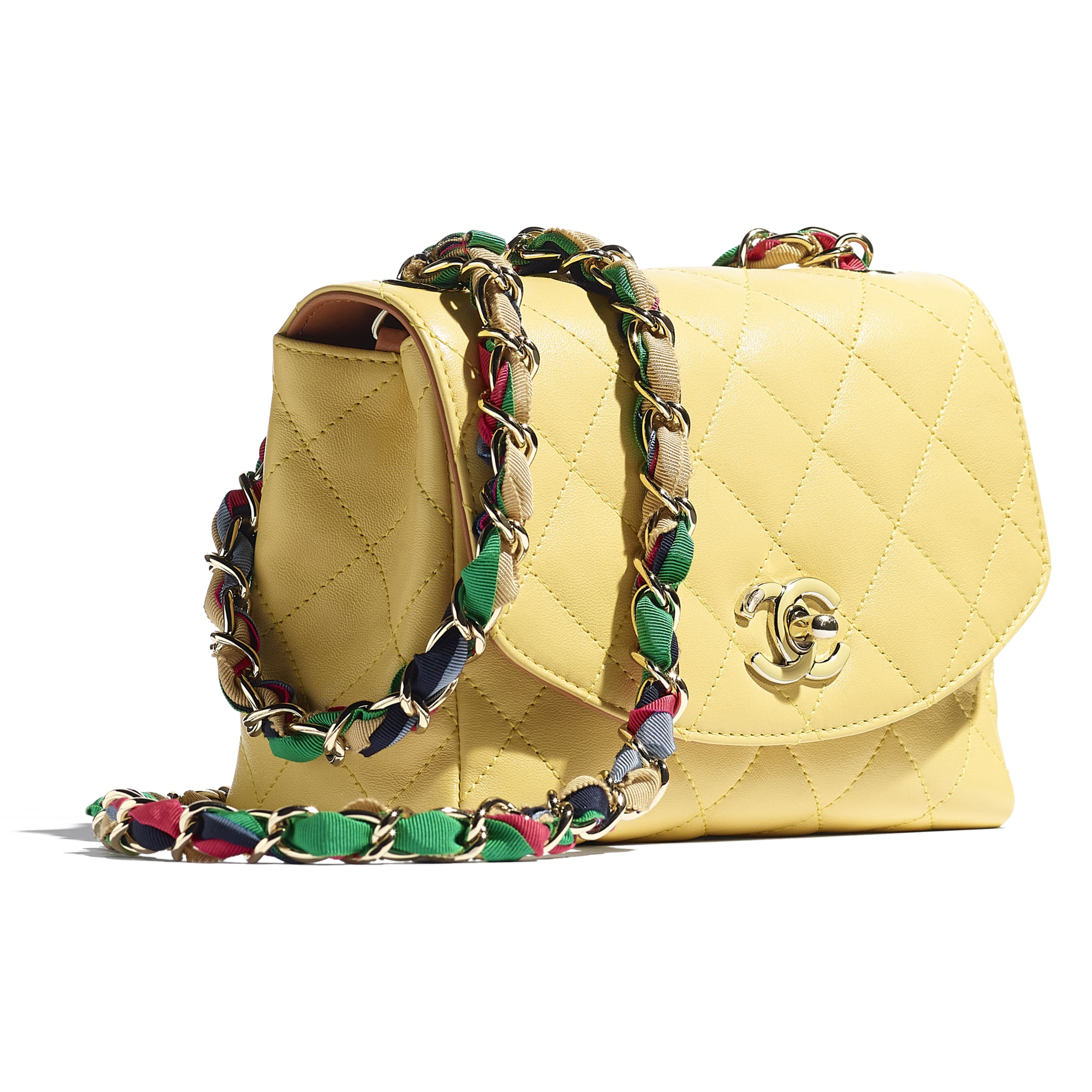 Flap Bag - Yellow - Lambskin, Mixed Fibers & Gold-Tone Metal - CHANEL - Extra view - see standard sized version