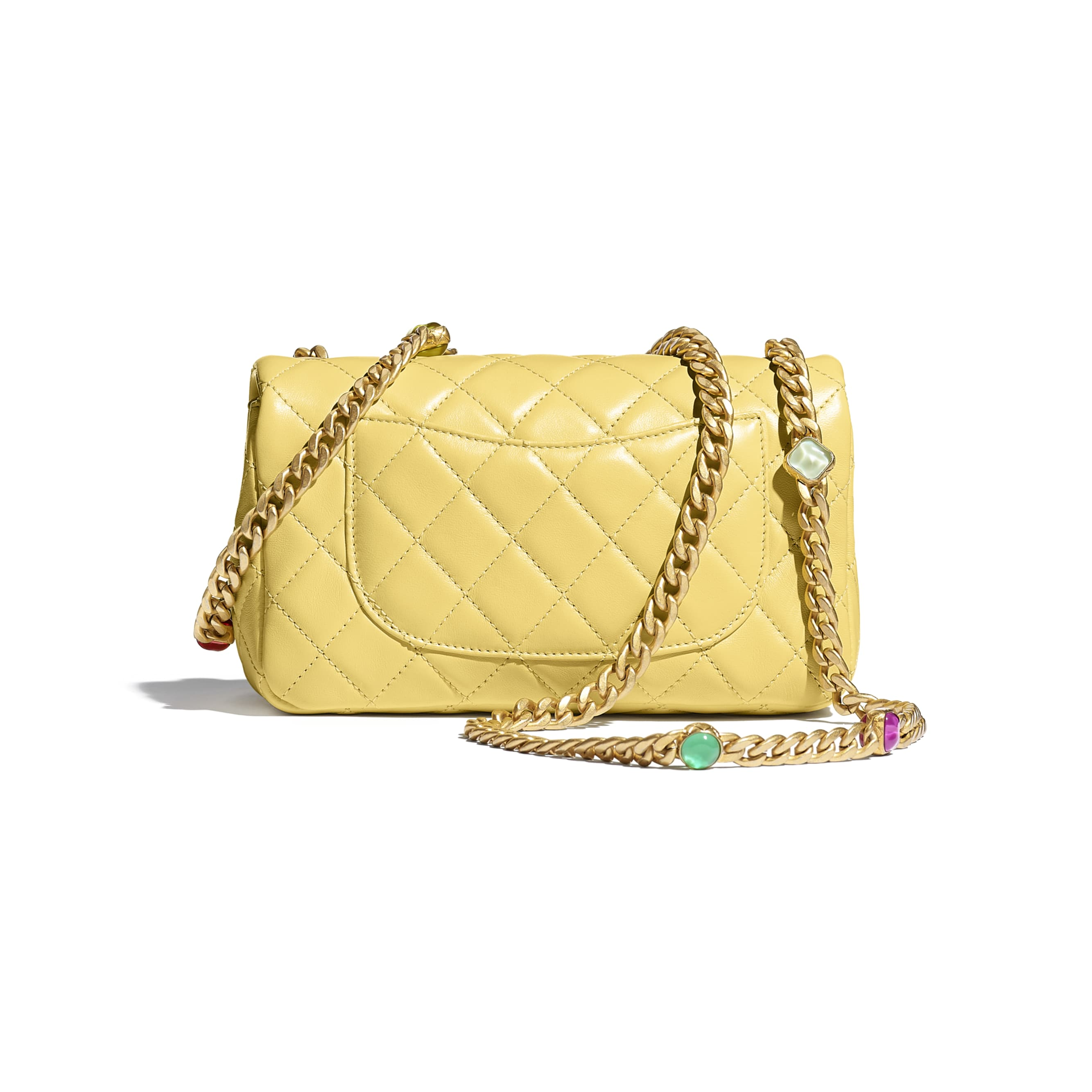 Flap Bag - Yellow - Lambskin, Resin & Gold-Tone Metal - CHANEL - Alternative view - see standard sized version