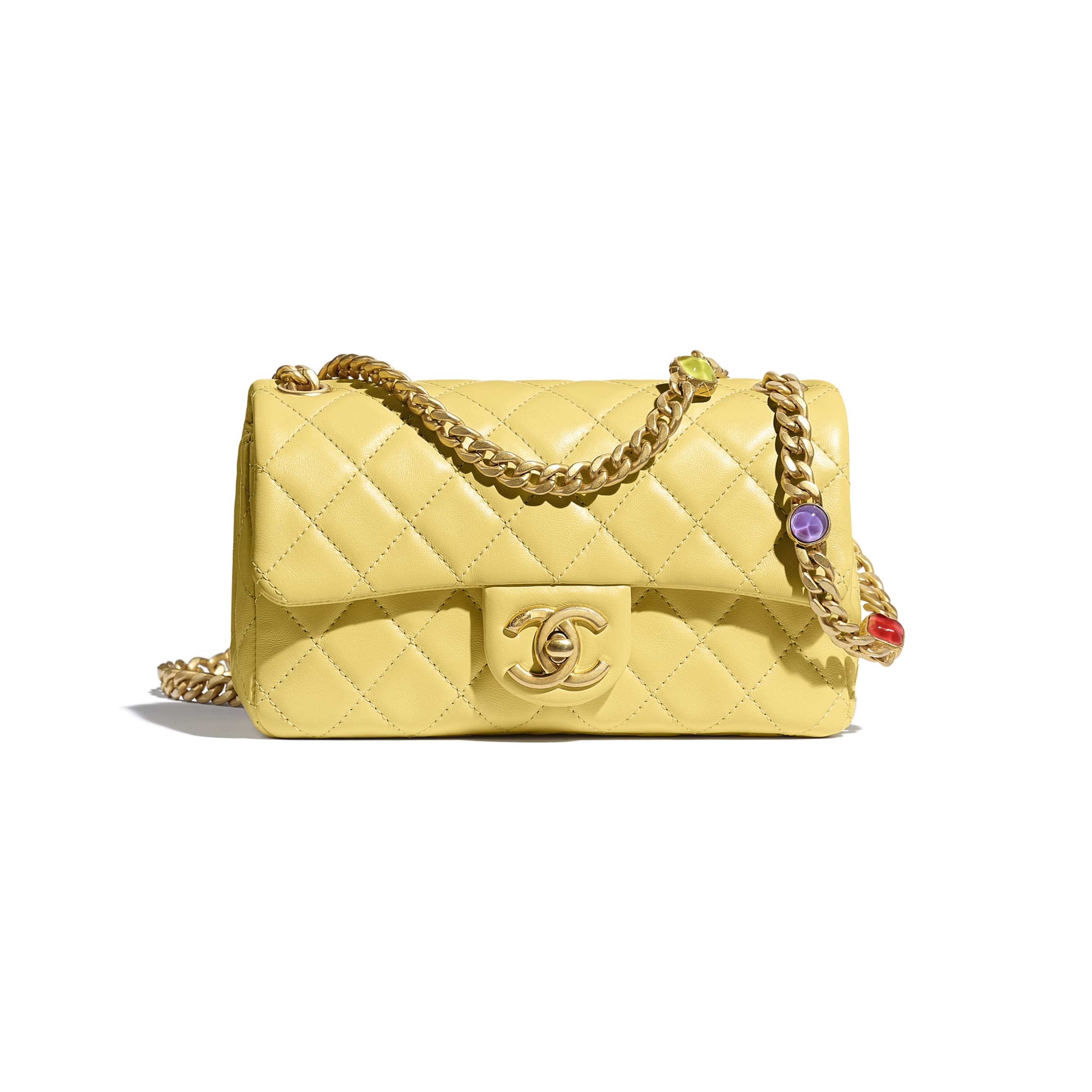 Flap Bag - Yellow - Lambskin, Resin & Gold-Tone Metal - CHANEL - Default view - see standard sized version