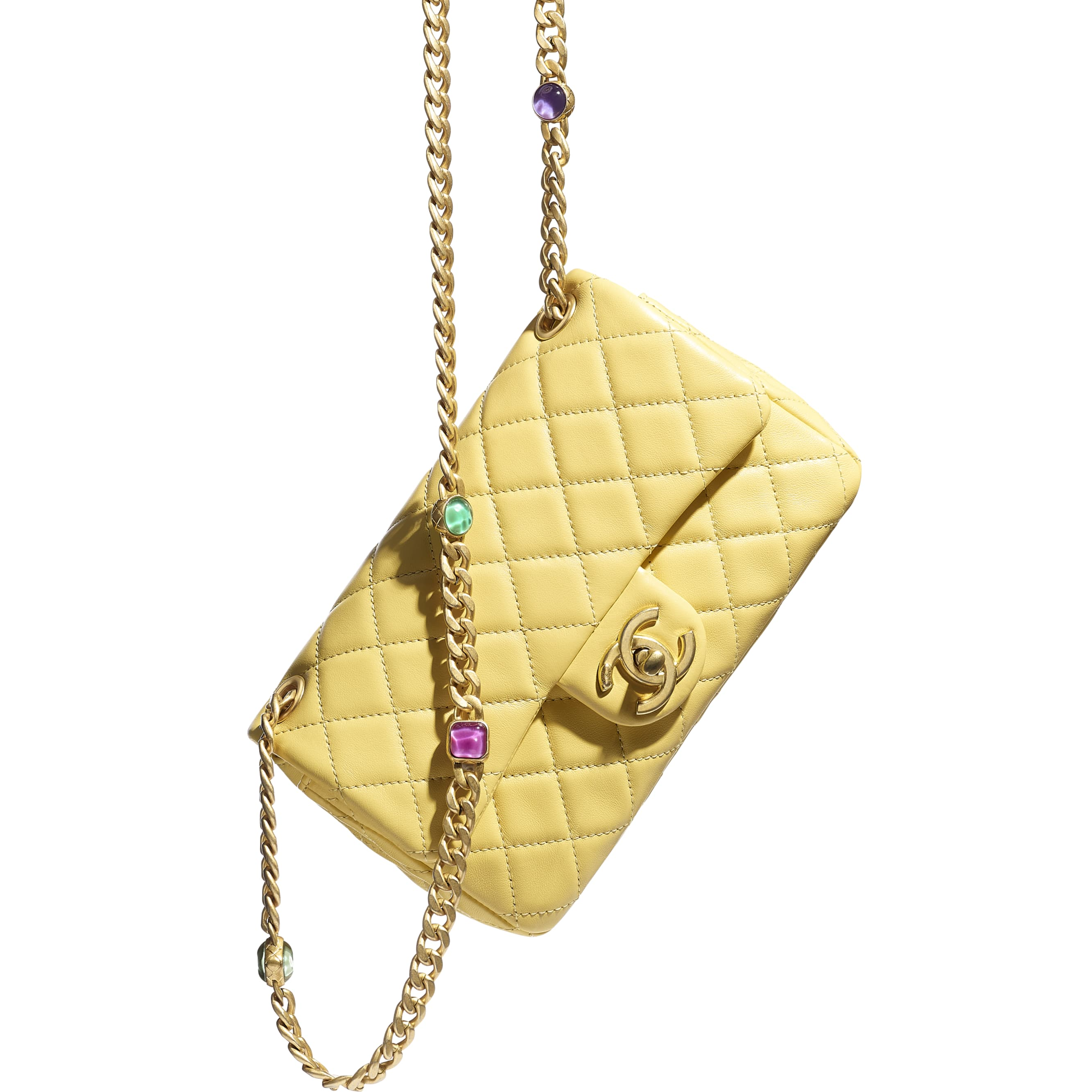 Flap Bag - Yellow - Lambskin, Resin & Gold-Tone Metal - CHANEL - Extra view - see standard sized version