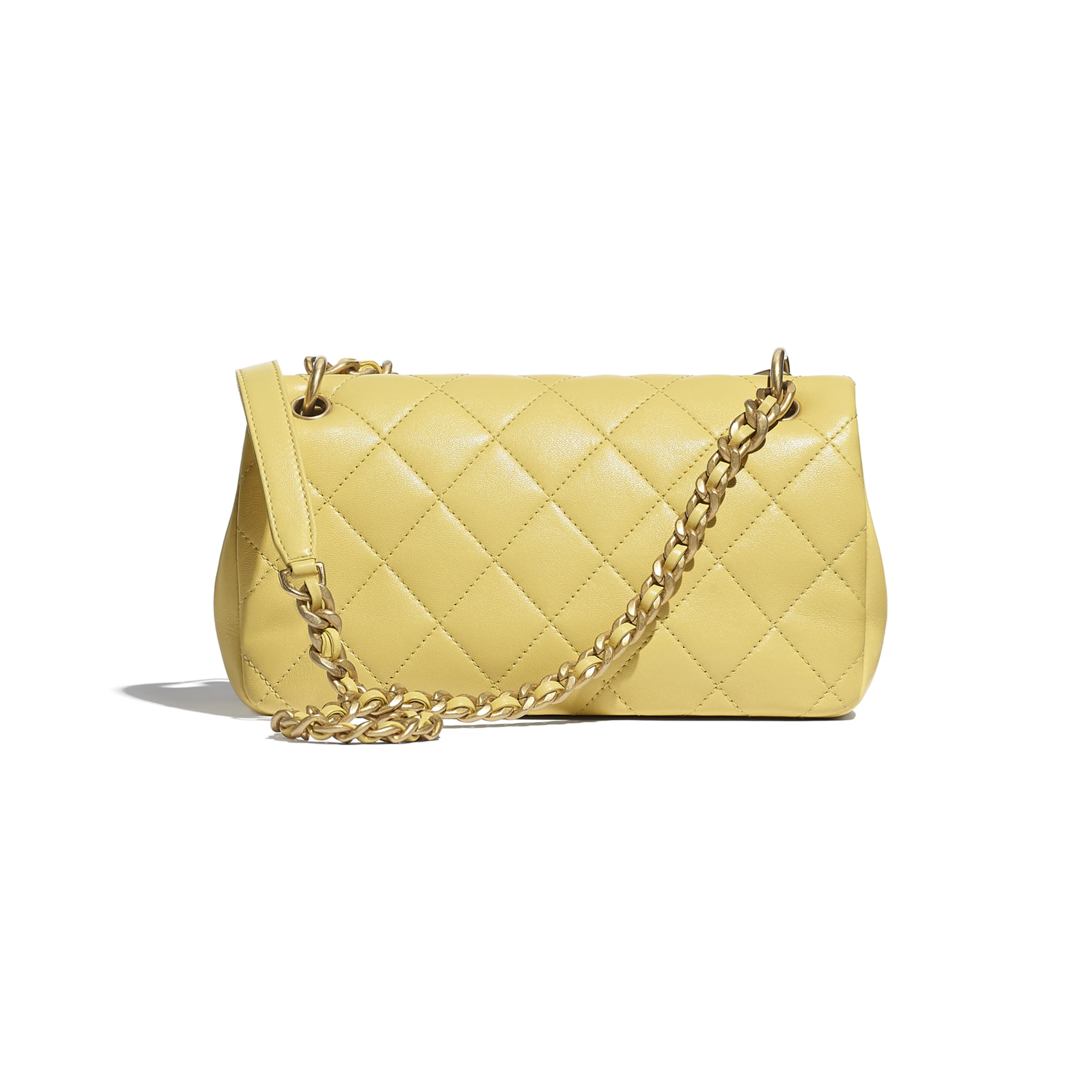 Flap Bag - Yellow - Shiny Lambskin & Gold-Tone Metal - CHANEL - Alternative view - see standard sized version