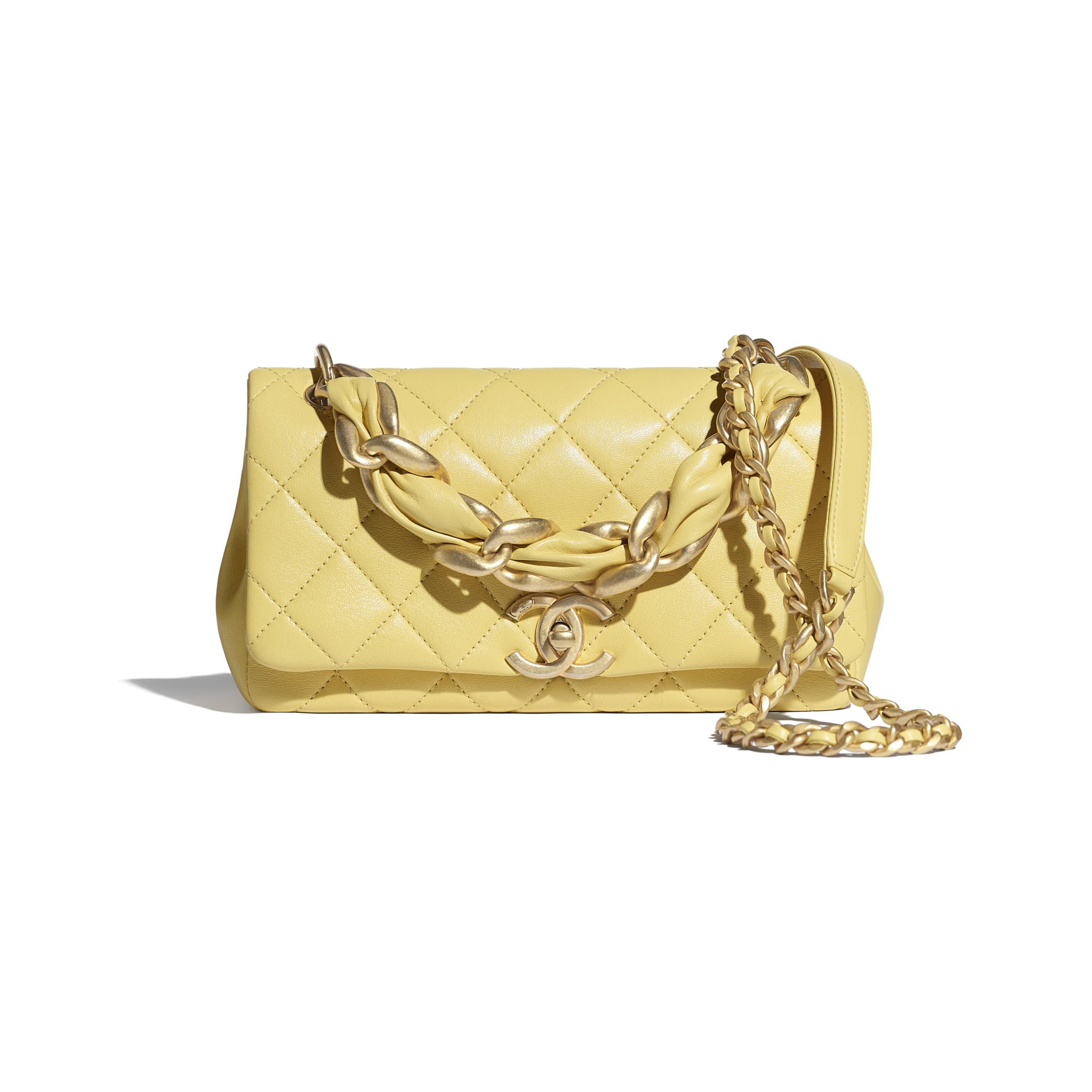 Flap Bag - Yellow - Shiny Lambskin & Gold-Tone Metal - CHANEL - Default view - see standard sized version
