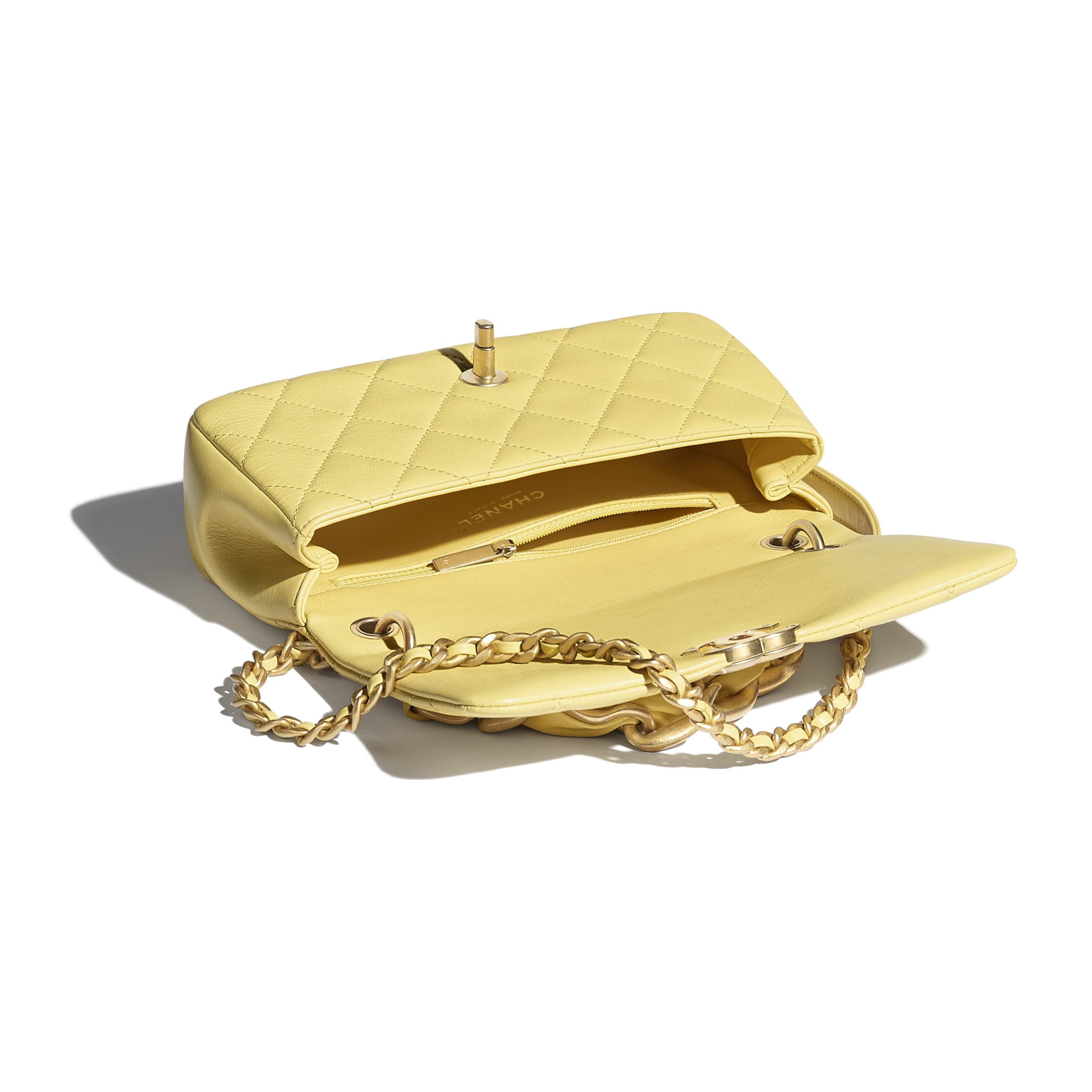Flap Bag - Yellow - Shiny Lambskin & Gold-Tone Metal - CHANEL - Other view - see standard sized version