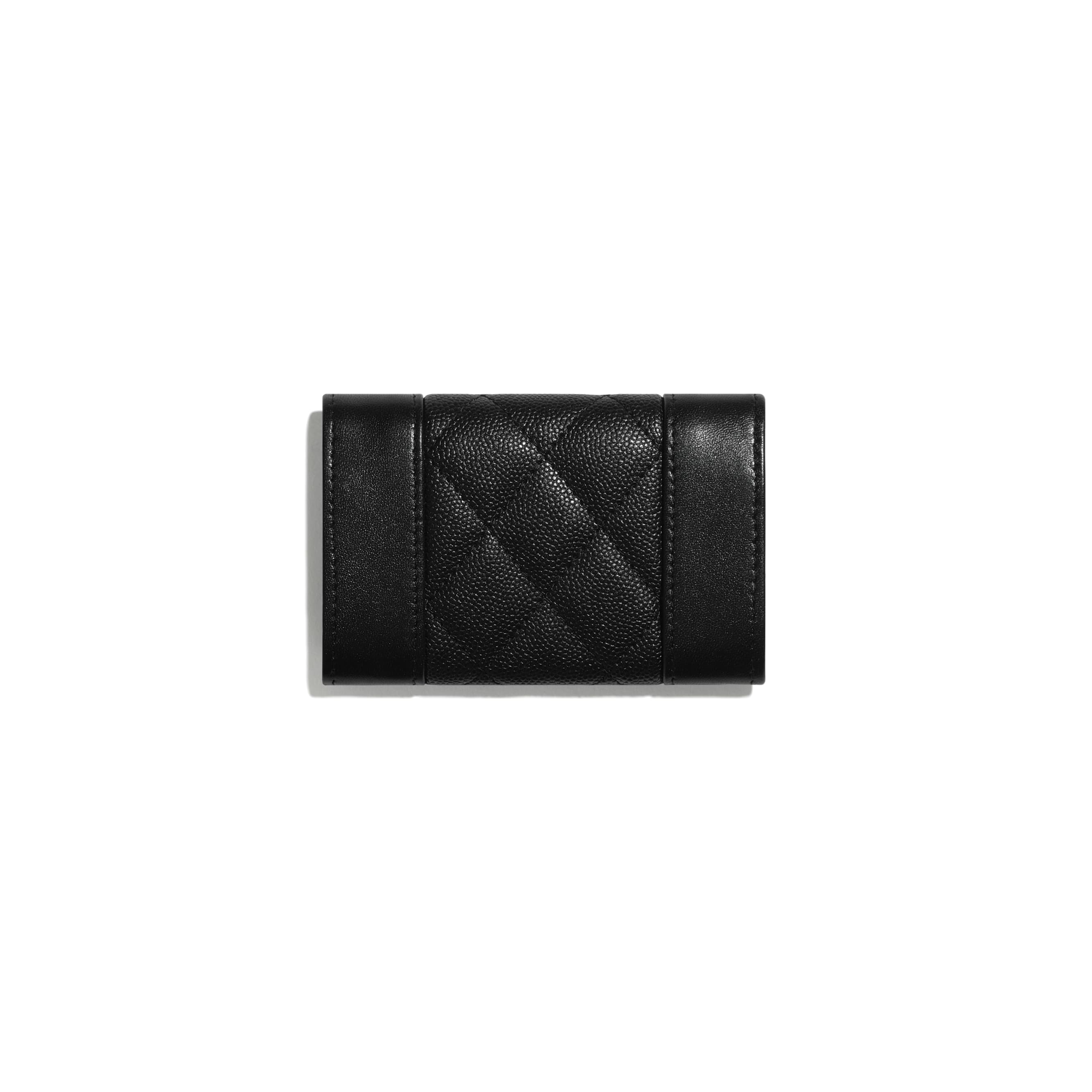 Flap Card Holder - Black - Grained Calfskin, Calfskin & Silver-Tone Metal - CHANEL - Alternative view - see standard sized version