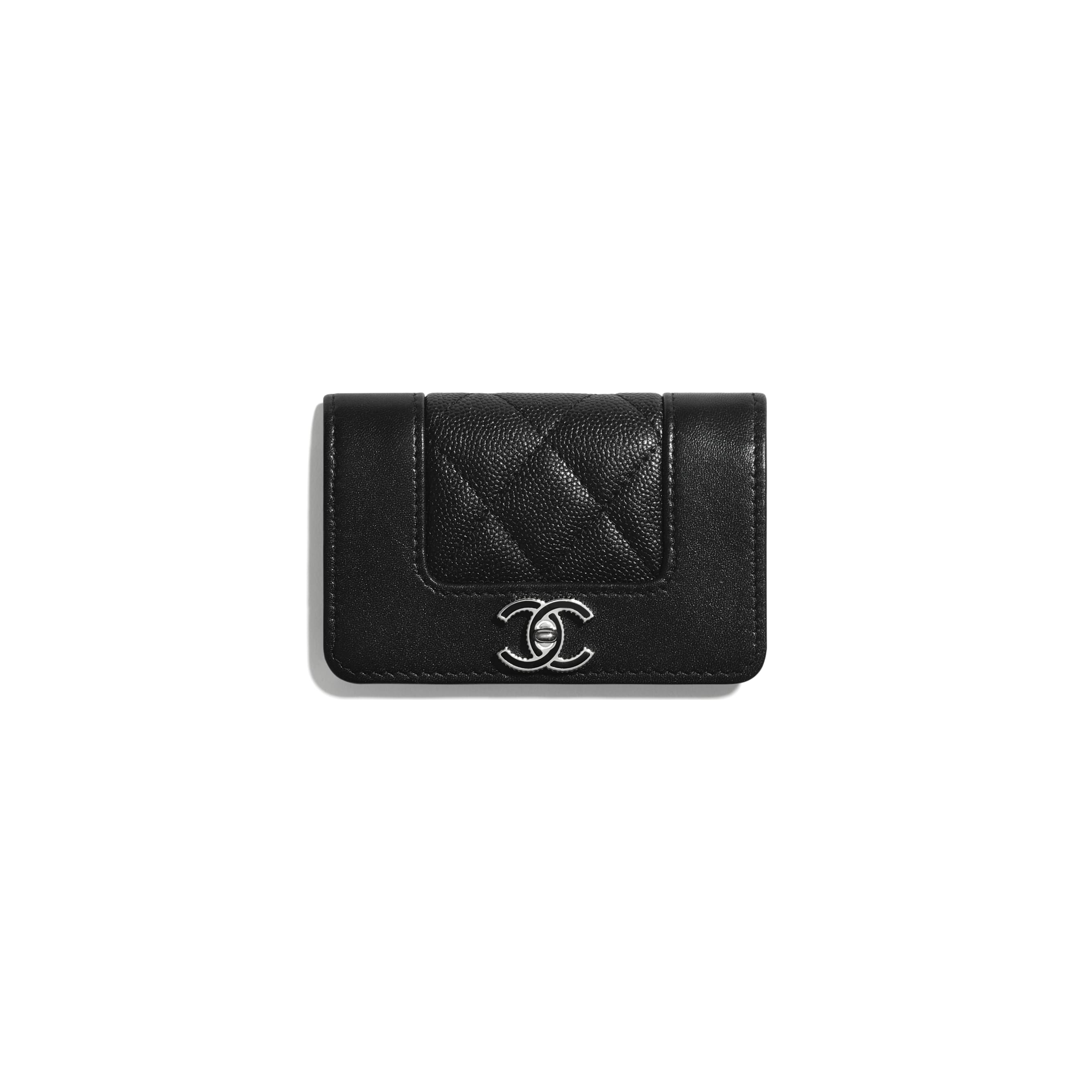 Flap Card Holder - Black - Grained Calfskin, Calfskin & Silver-Tone Metal - CHANEL - Default view - see standard sized version