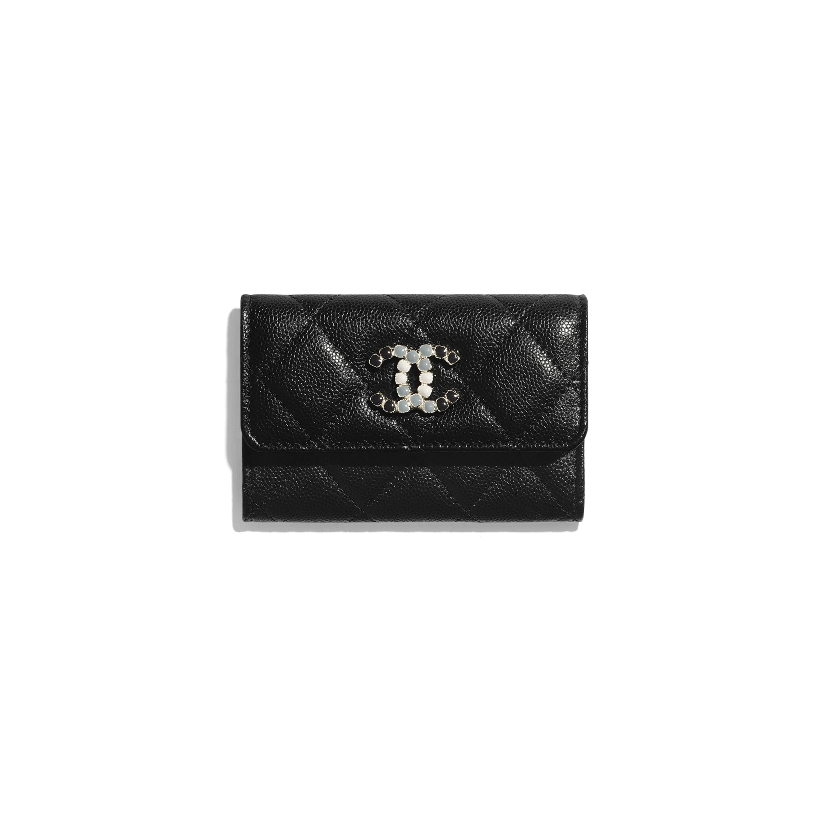 Flap Card Holder - Black - Grained Calfskin & Laquered Gold-Tone Metal - CHANEL - Default view - see standard sized version