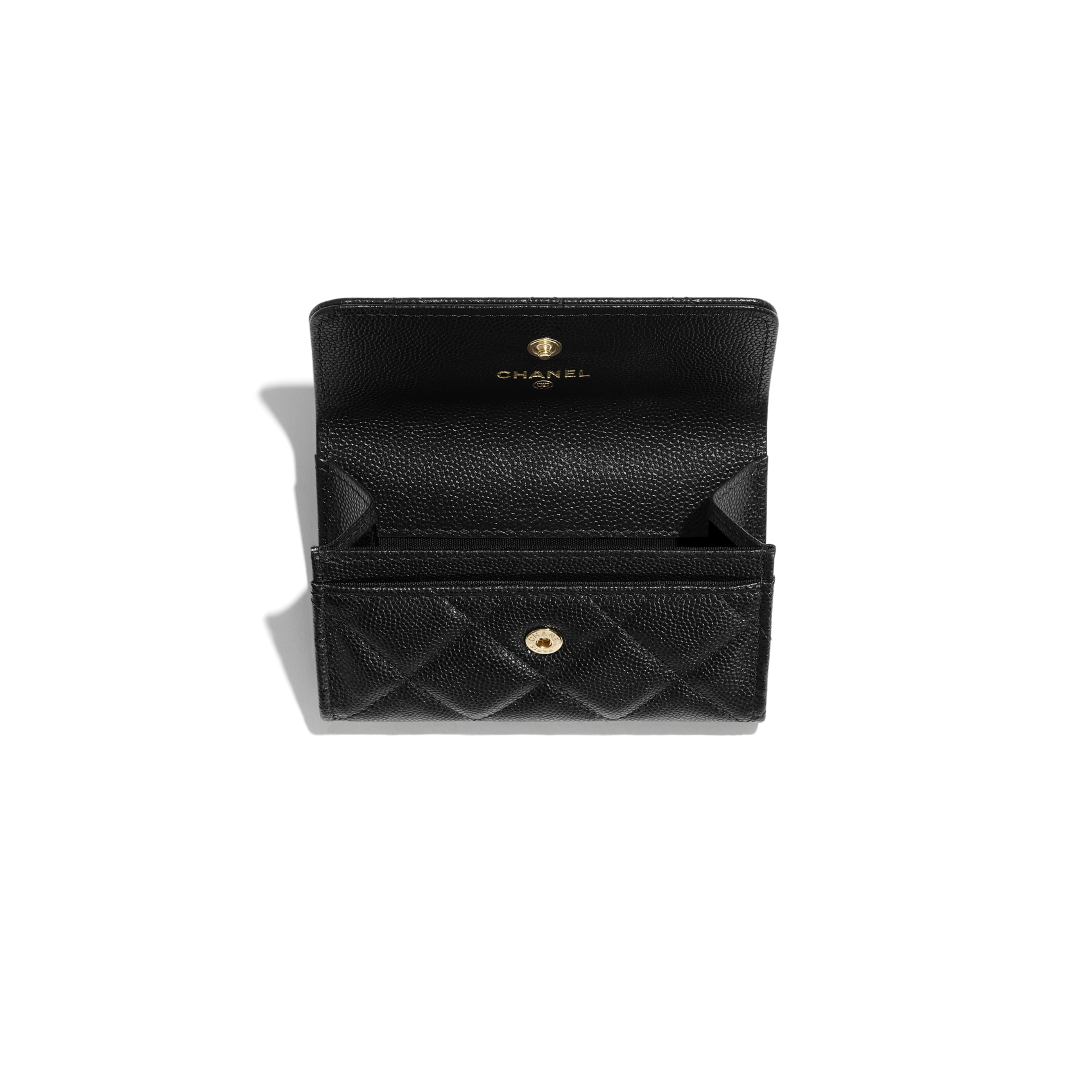 Flap Card Holder - Black - Grained Calfskin & Laquered Gold-Tone Metal - CHANEL - Other view - see standard sized version
