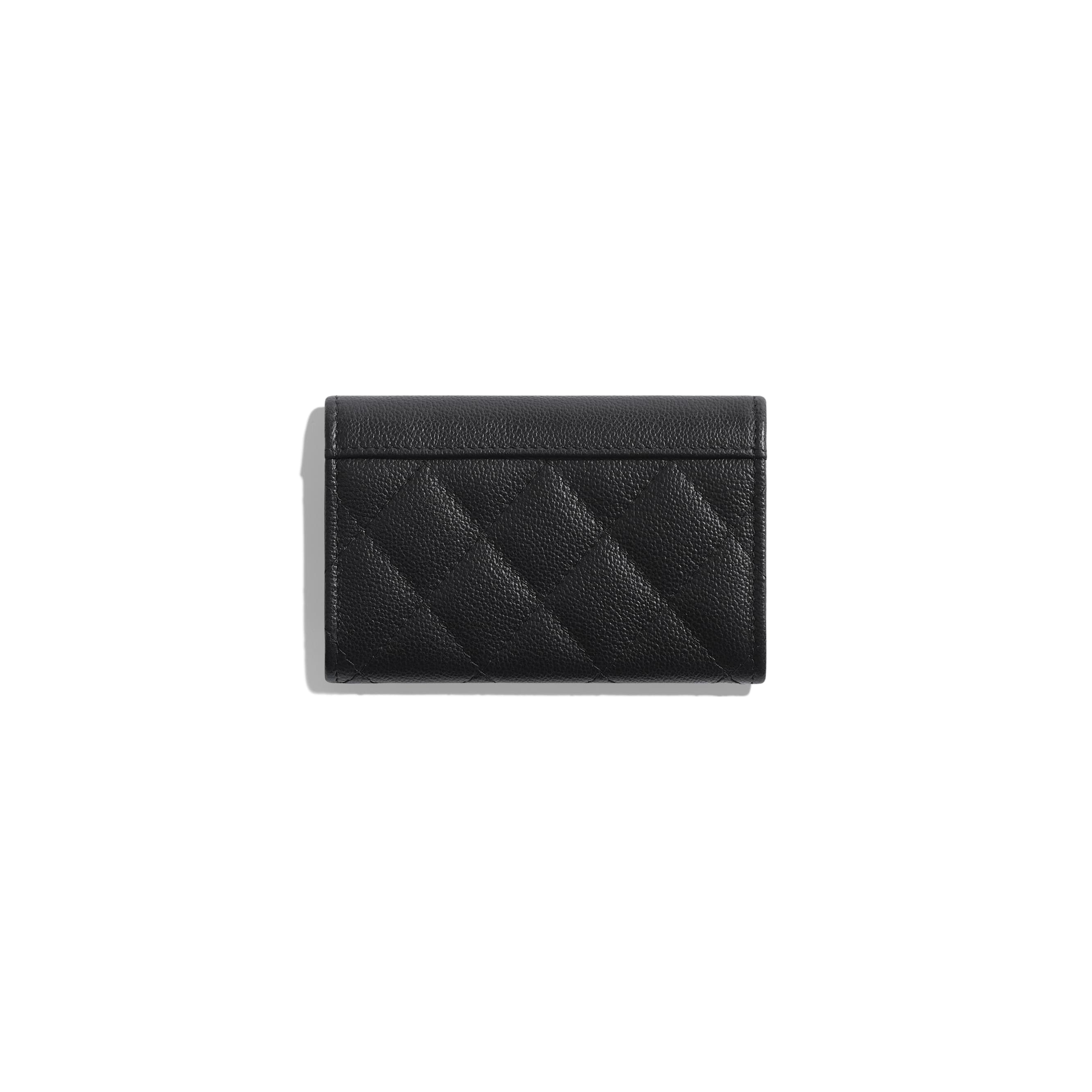 Flap Card Holder - Black - Grained Calfskin & Silver-Tone Metal - CHANEL - Alternative view - see standard sized version