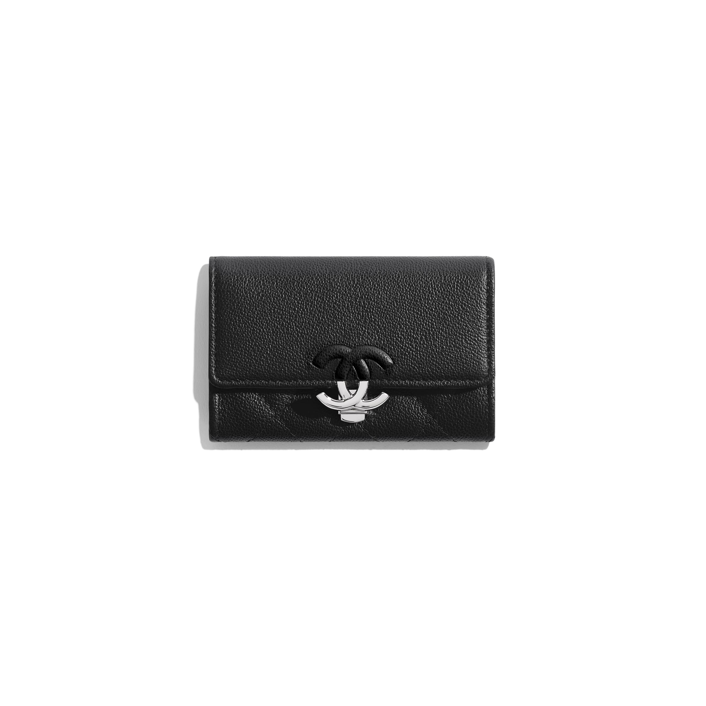 Flap Card Holder - Black - Grained Calfskin & Silver-Tone Metal - CHANEL - Default view - see standard sized version
