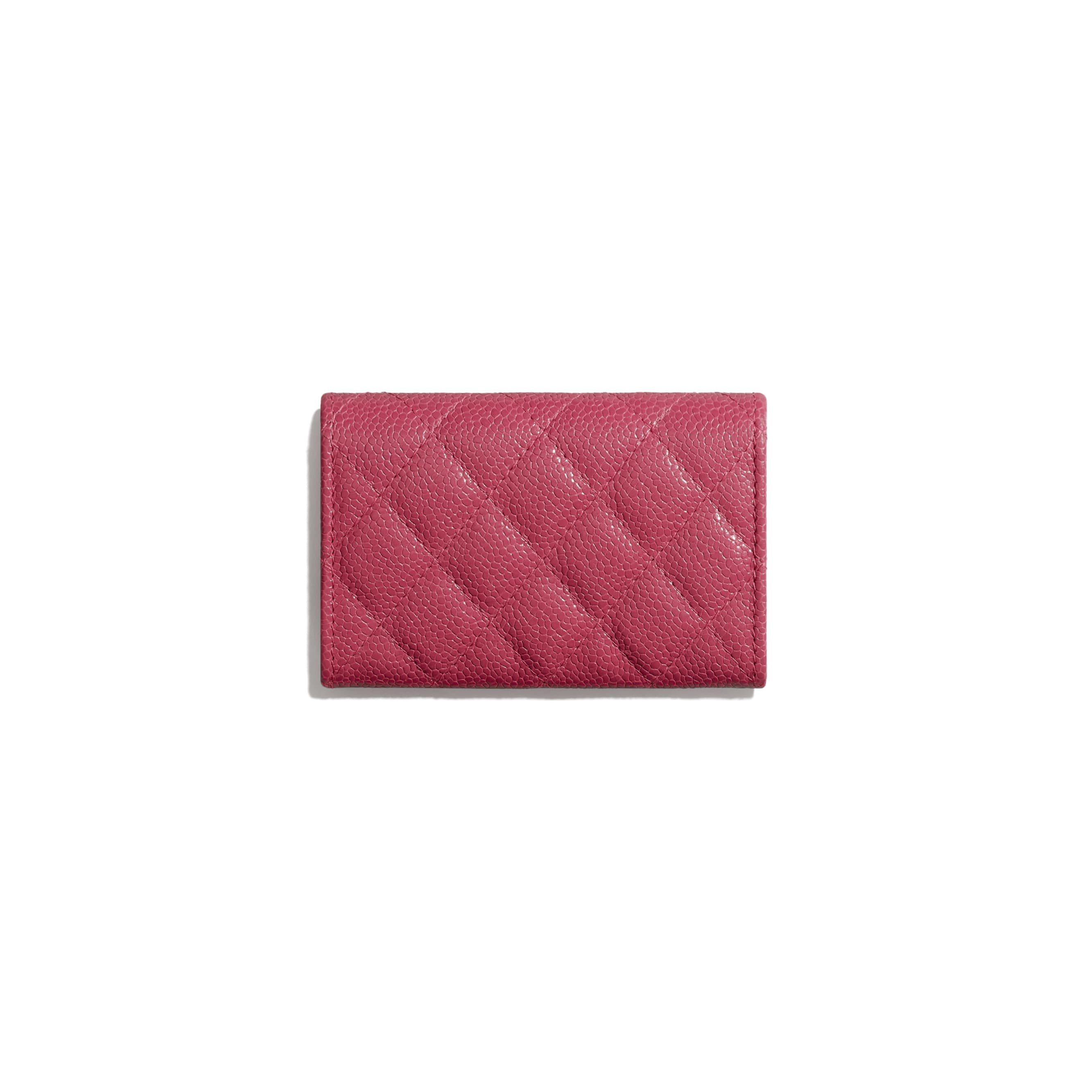 Flap Card Holder - Dark Pink - Grained Calfskin & Lacquered Metal - Alternative view - see standard sized version