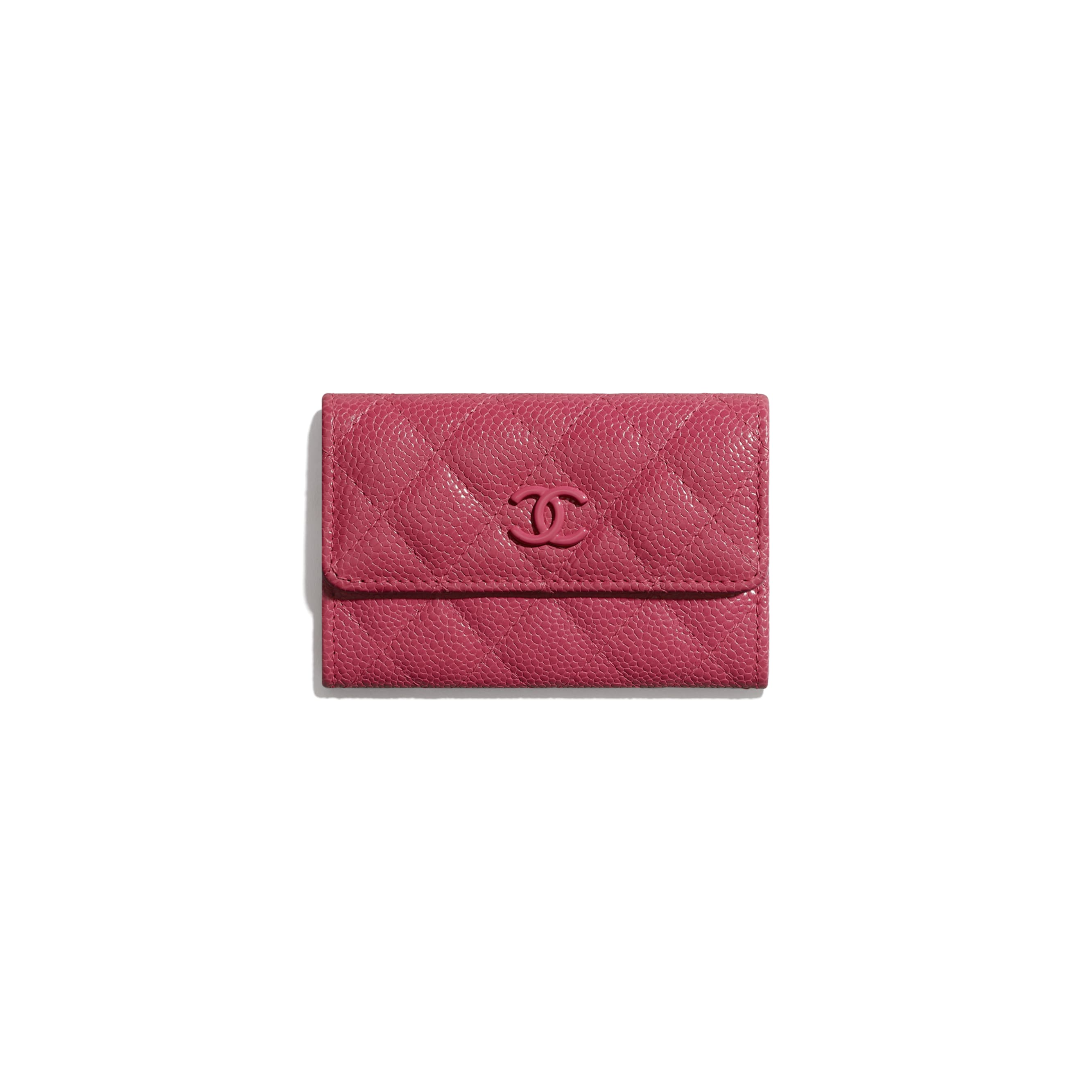 Flap Card Holder - Dark Pink - Grained Calfskin & Lacquered Metal - Default view - see standard sized version