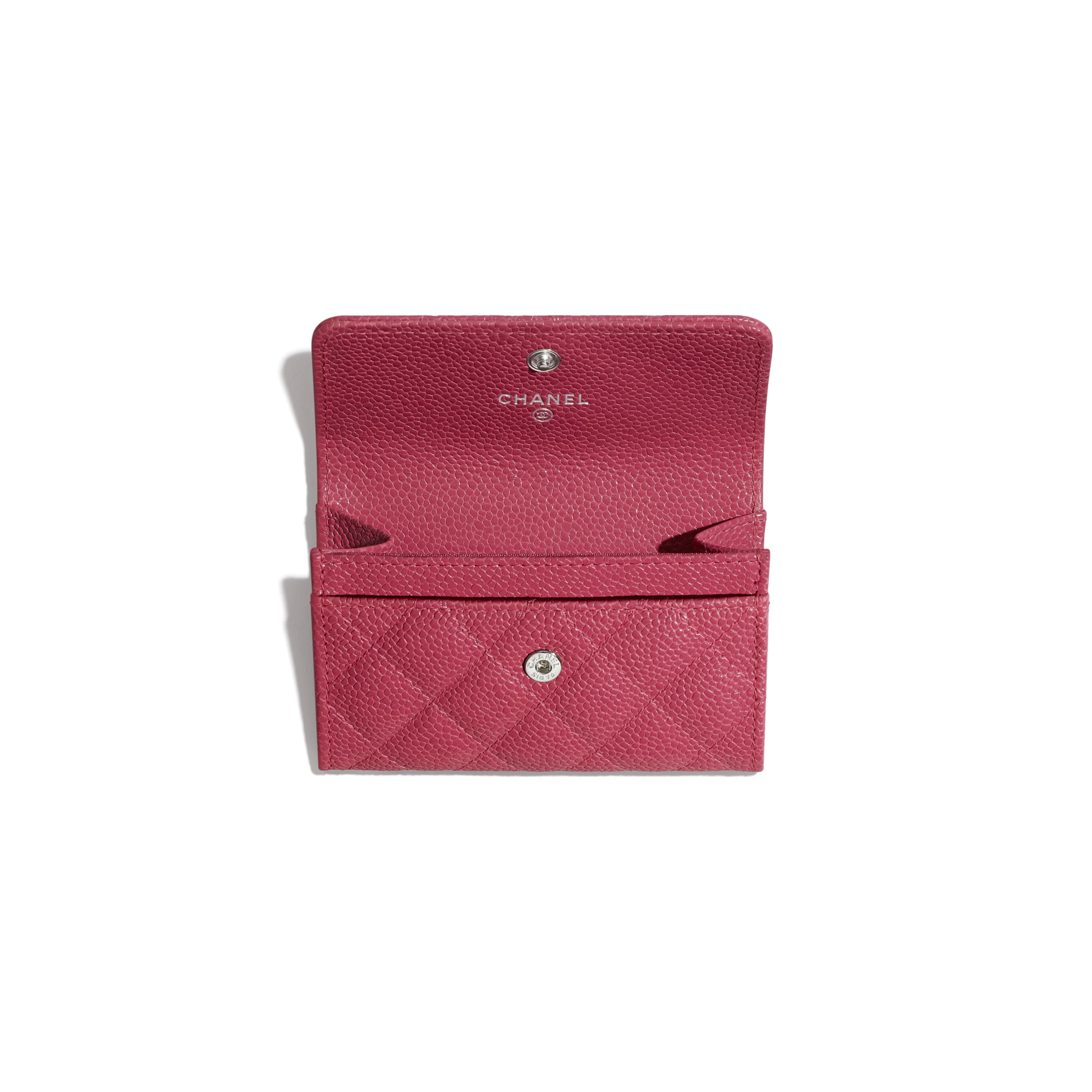 Flap Card Holder - Dark Pink - Grained Calfskin & Lacquered Metal - Other view - see standard sized version