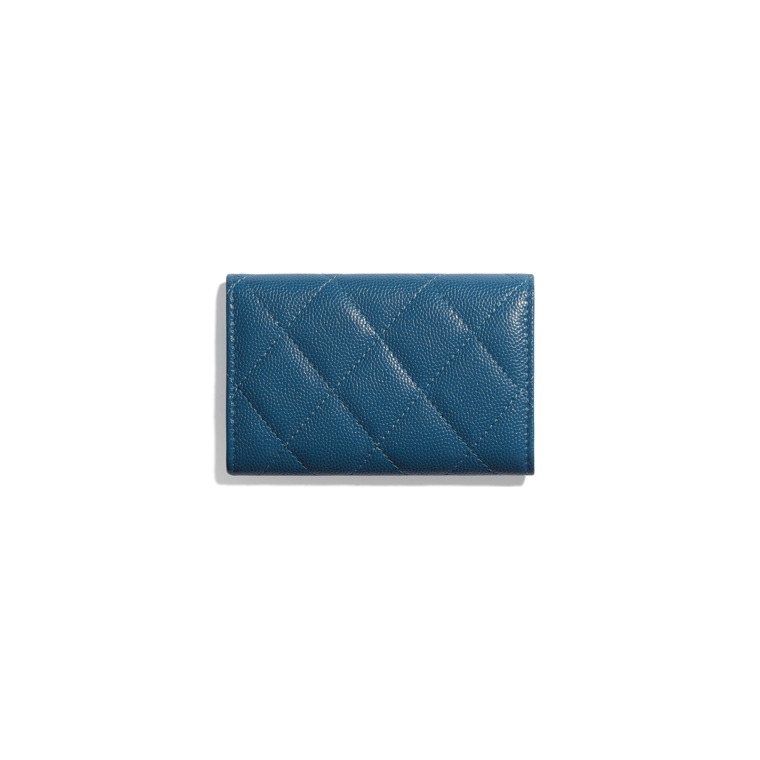 Flap Card Holder - Navy Blue - Grained Calfskin & Lacquered Metal - CHANEL - Alternative view - see standard sized version