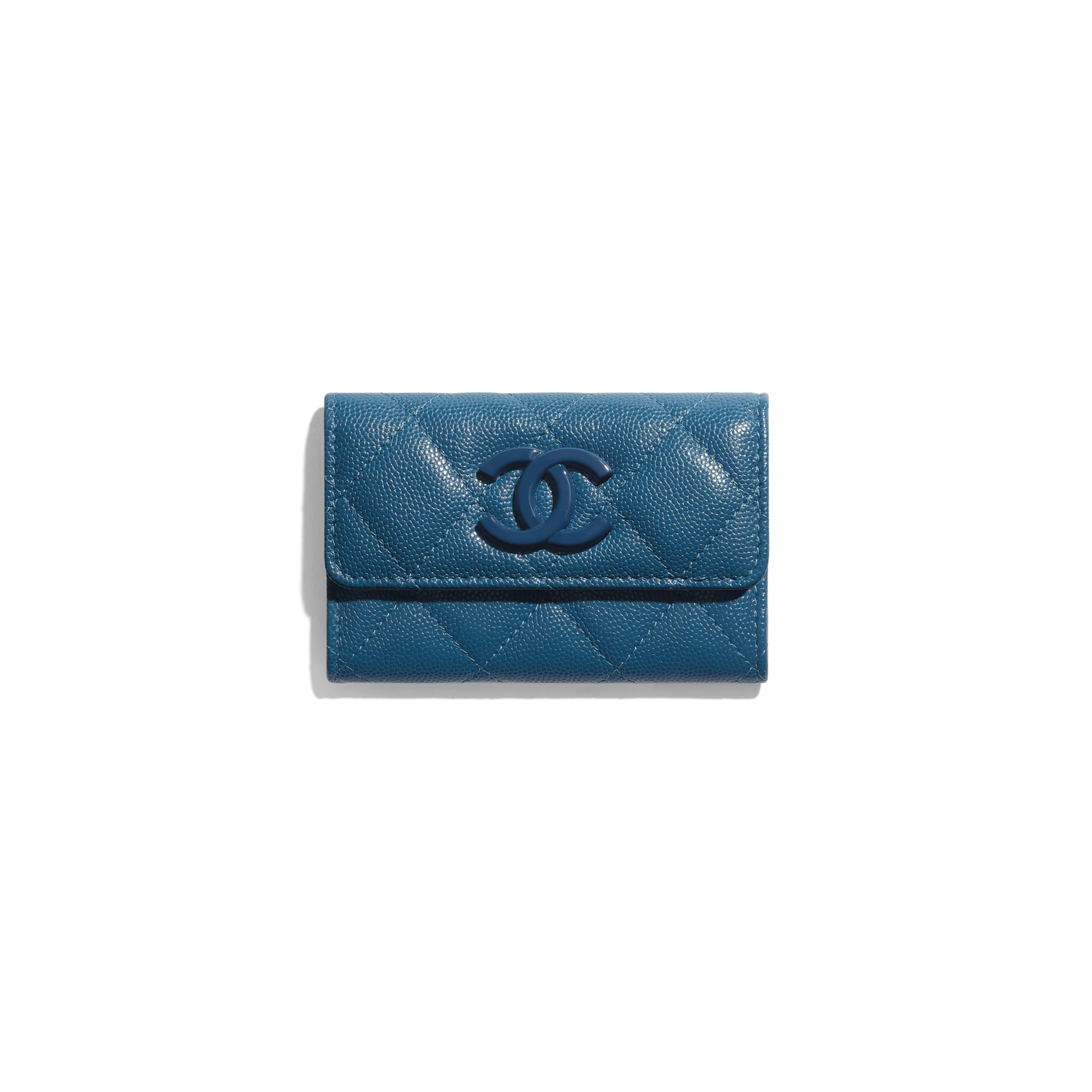 Flap Card Holder - Navy Blue - Grained Calfskin & Lacquered Metal - CHANEL - Default view - see standard sized version