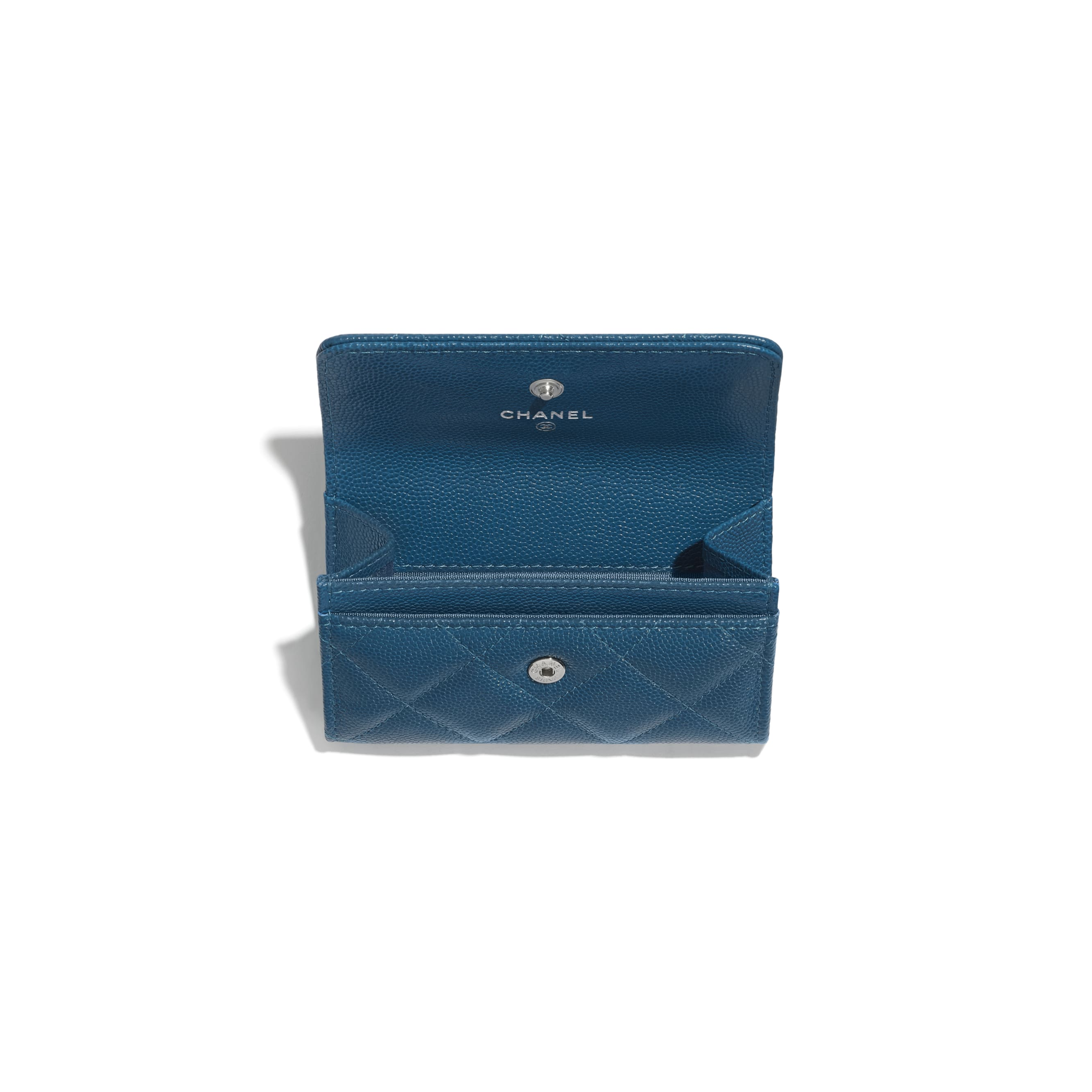 Flap Card Holder - Navy Blue - Grained Calfskin & Lacquered Metal - CHANEL - Other view - see standard sized version