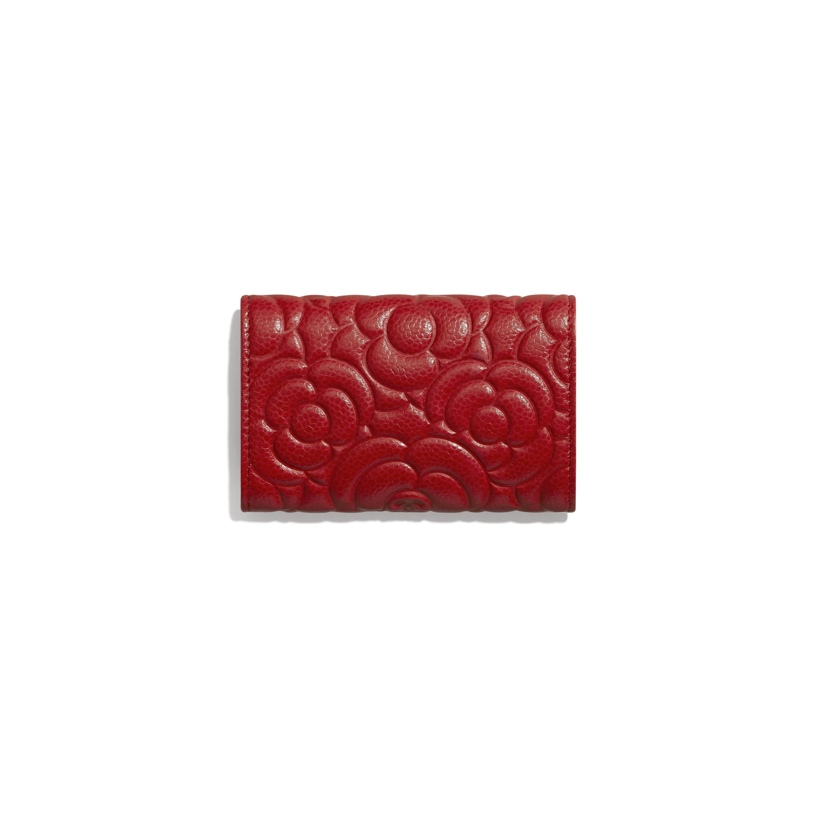 Flap Card Holder - Red - Grained Shiny Calfskin & Gold-Tone Metal - Alternative view - see standard sized version