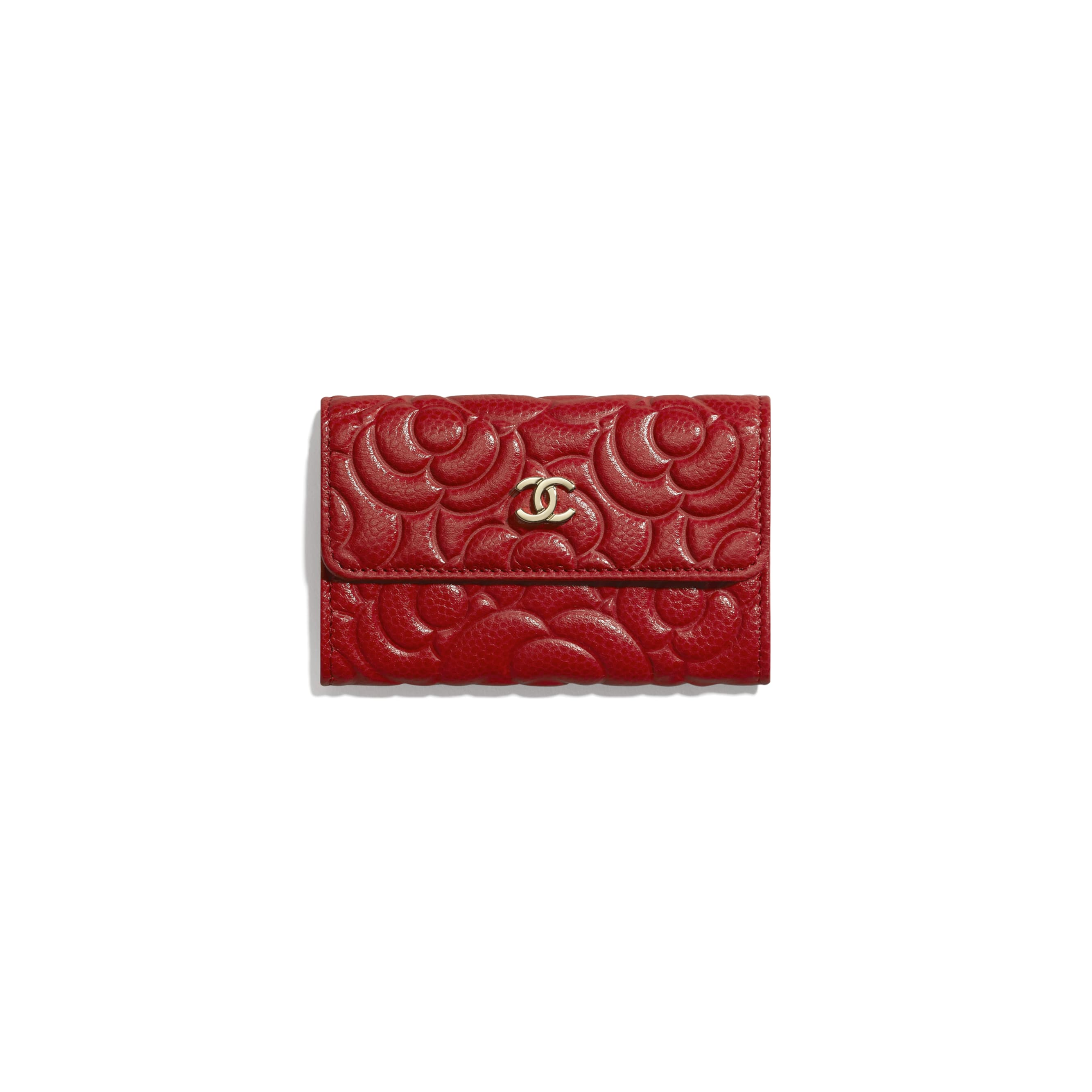 Flap Card Holder - Red - Grained Shiny Calfskin & Gold-Tone Metal - Default view - see standard sized version