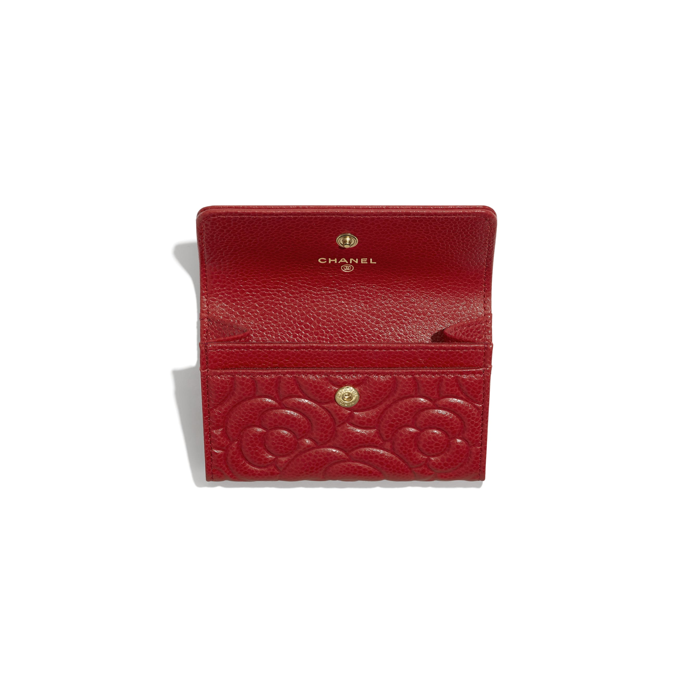 Flap Card Holder - Red - Grained Shiny Calfskin & Gold-Tone Metal - Other view - see standard sized version