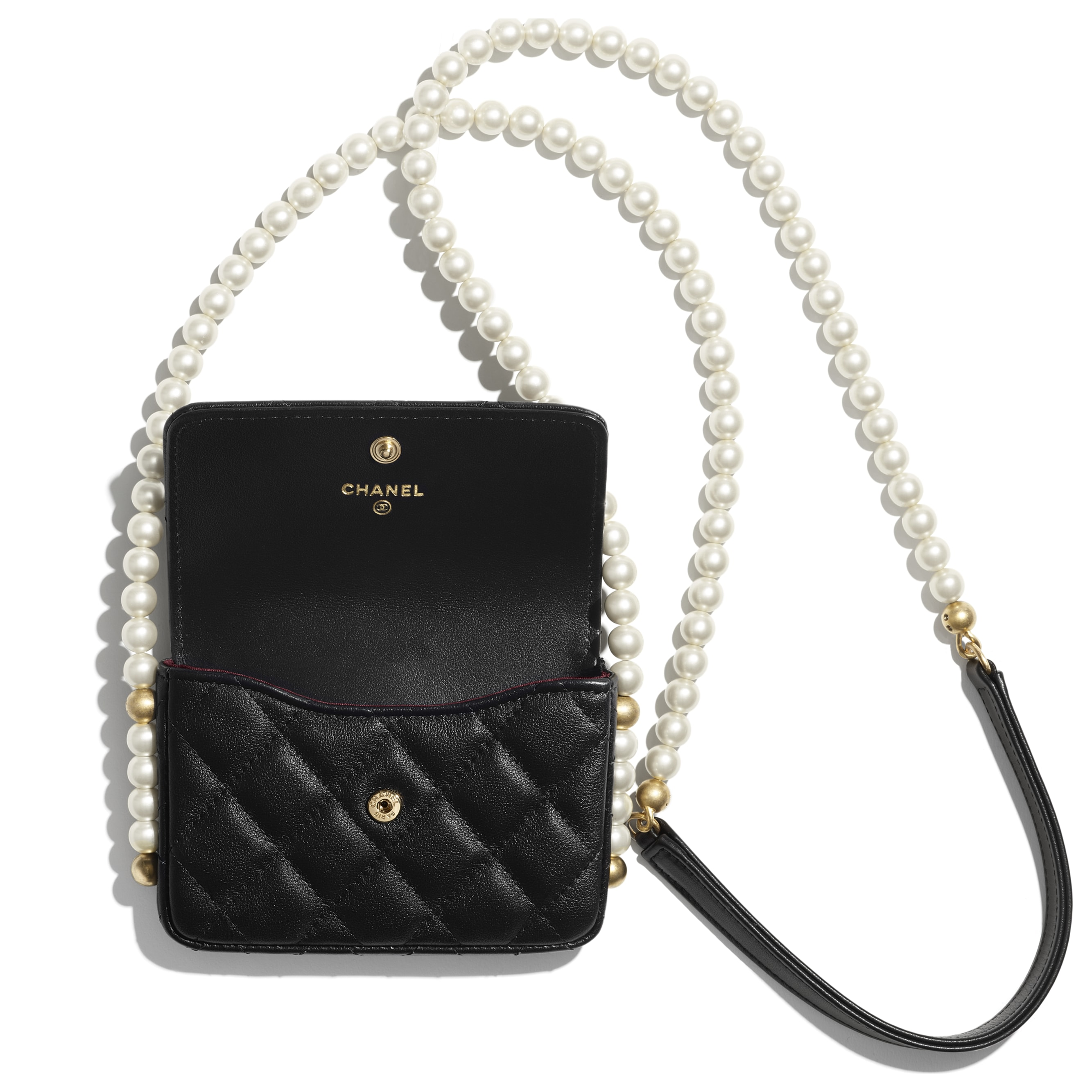Flap Card Holder with Chain - Black - Calfskin, Imitation Pearls & Gold-Tone Metal - CHANEL - Alternative view - see standard sized version