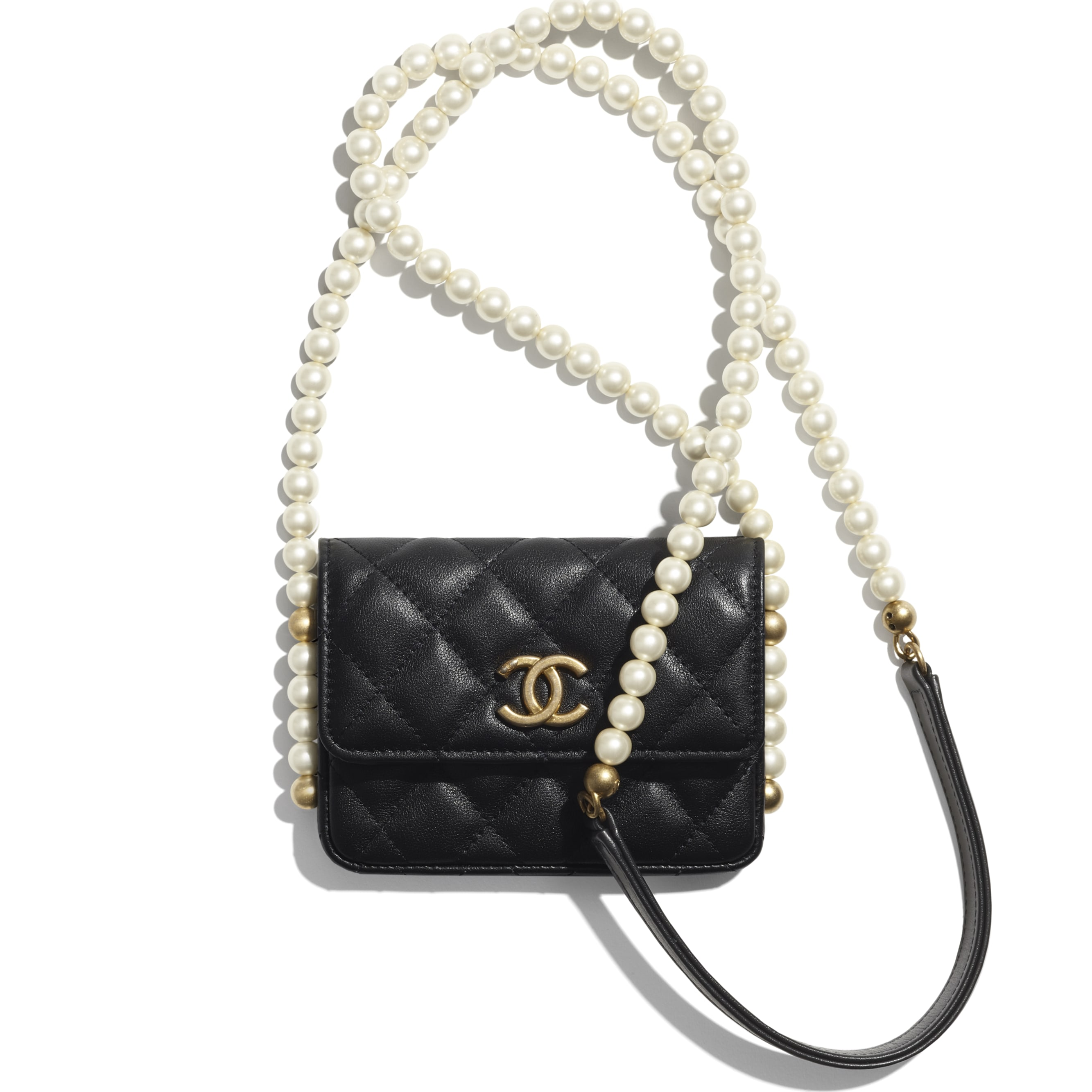 Flap Card Holder with Chain - Black - Calfskin, Imitation Pearls & Gold-Tone Metal - CHANEL - Default view - see standard sized version