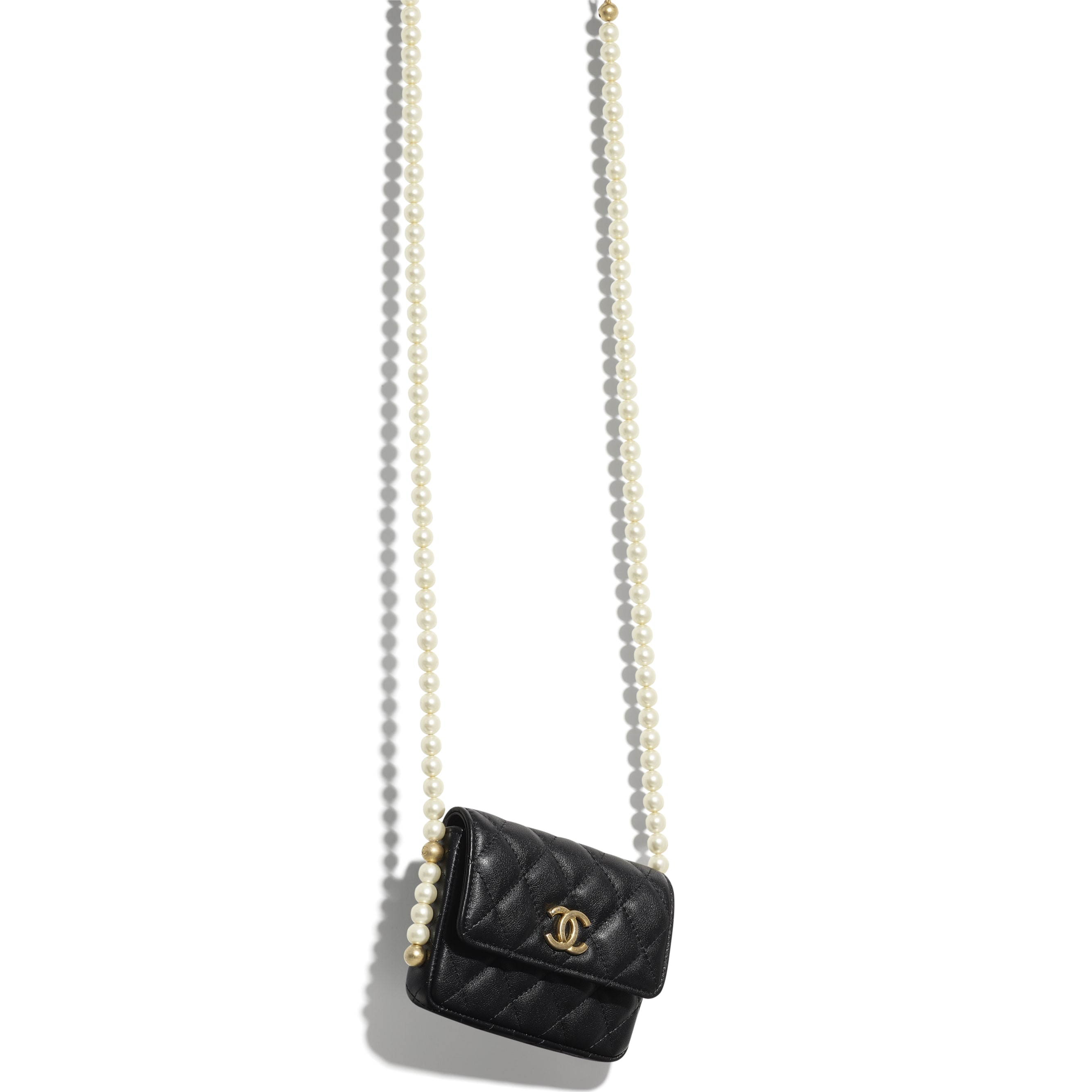 Flap Card Holder with Chain - Black - Calfskin, Imitation Pearls & Gold-Tone Metal - CHANEL - Other view - see standard sized version