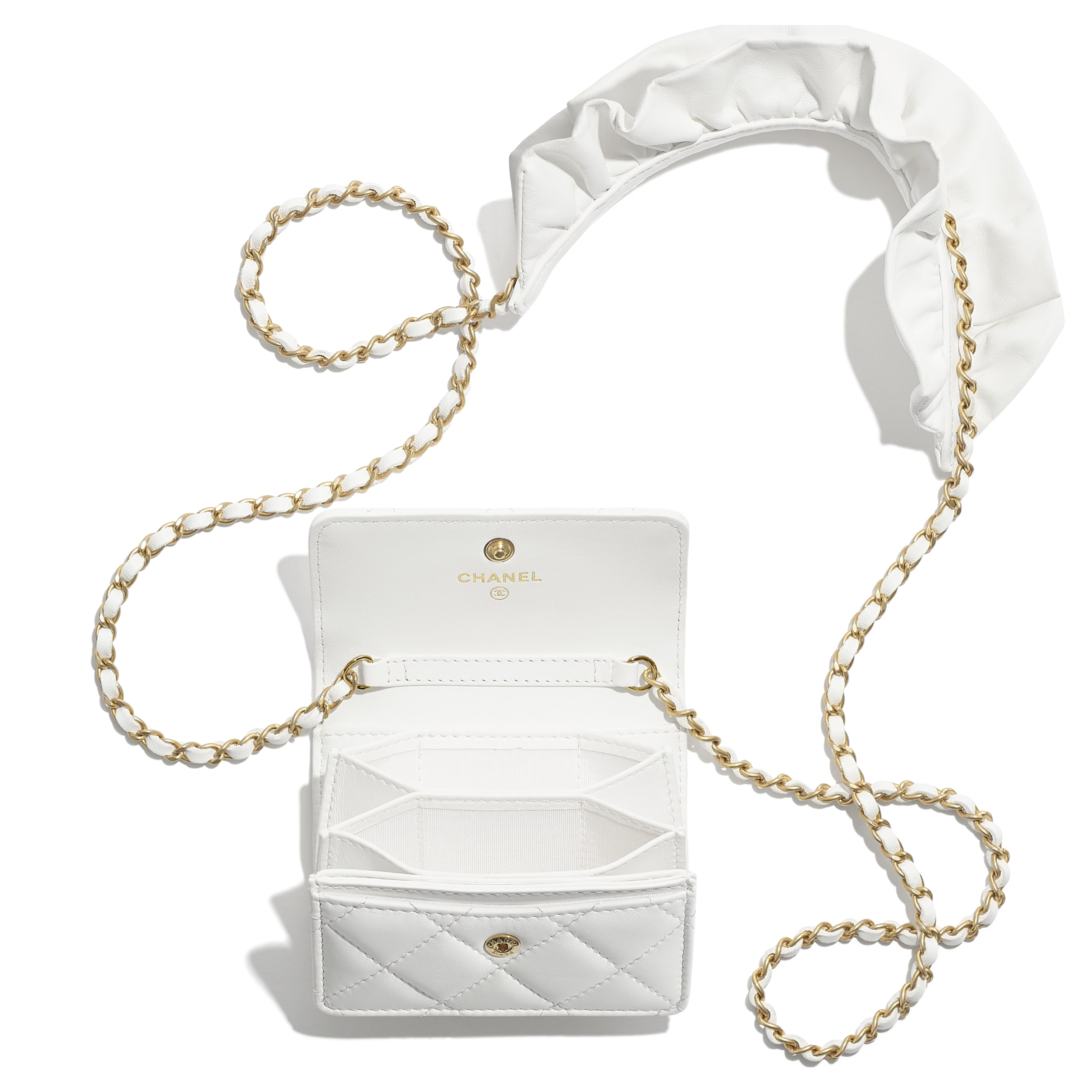 Flap Card Holder with Chain - White - Lambskin - CHANEL - Alternative view - see standard sized version