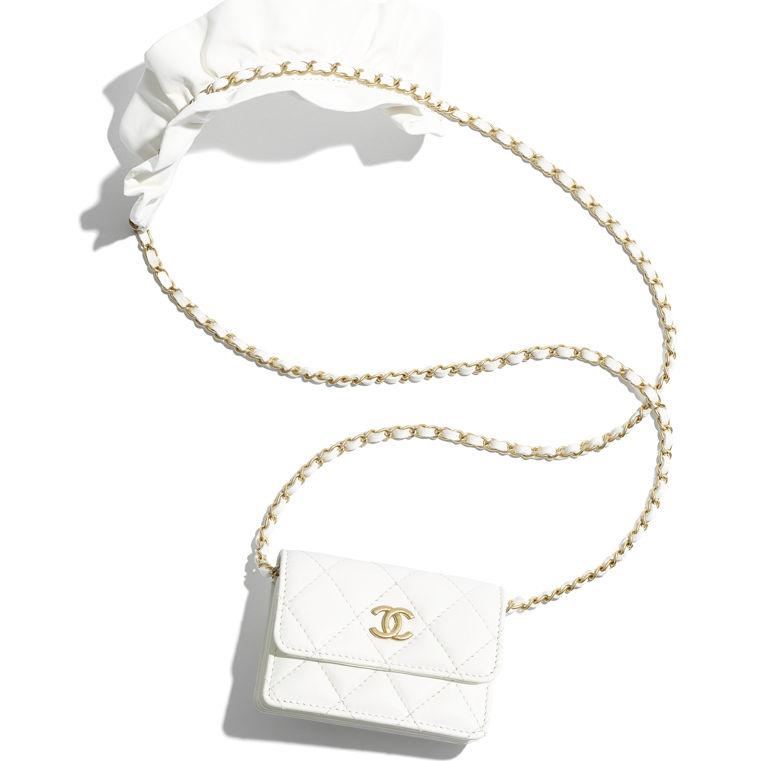 Flap Card Holder with Chain - White - Lambskin - CHANEL - Default view - see standard sized version