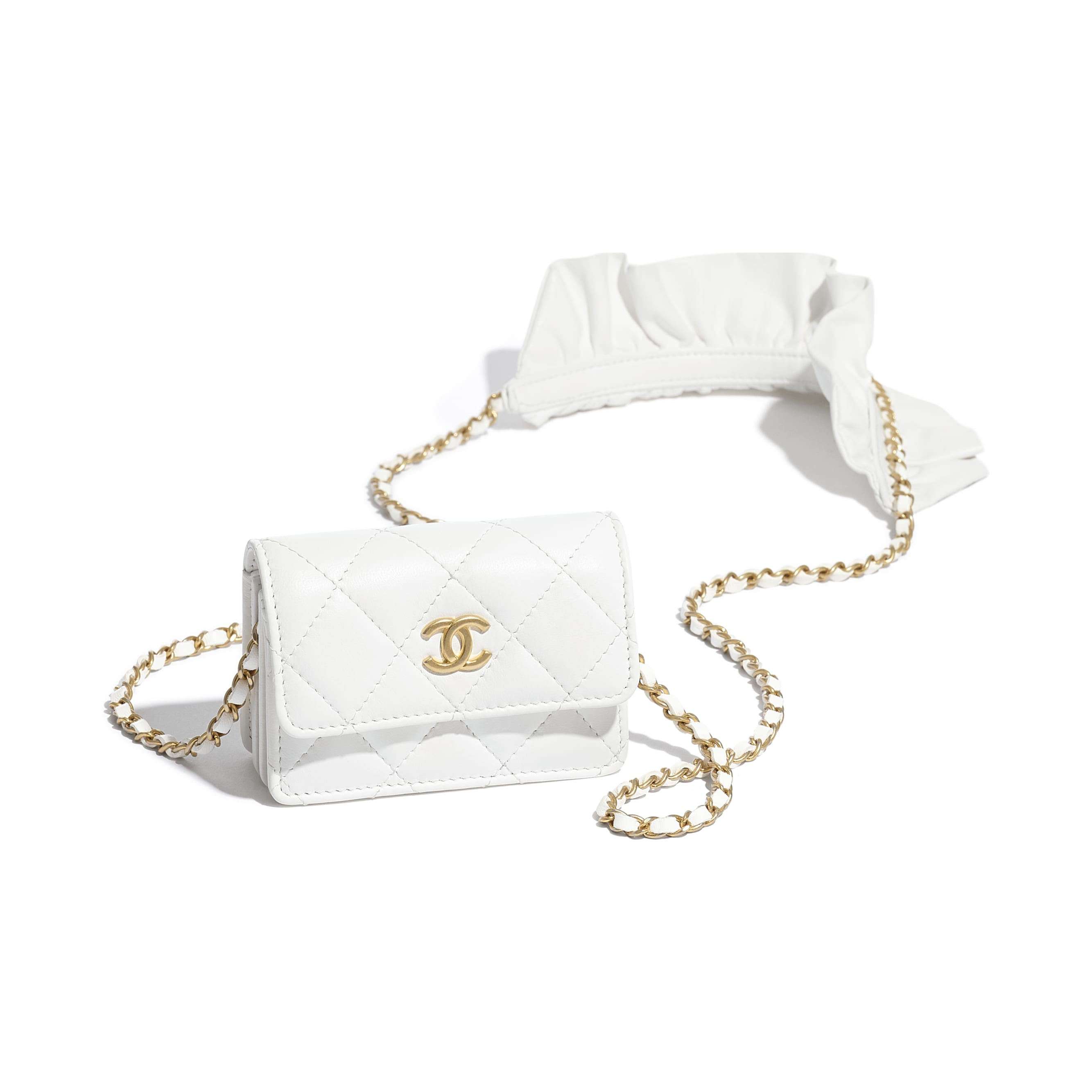 Flap Card Holder with Chain - White - Lambskin - CHANEL - Extra view - see standard sized version
