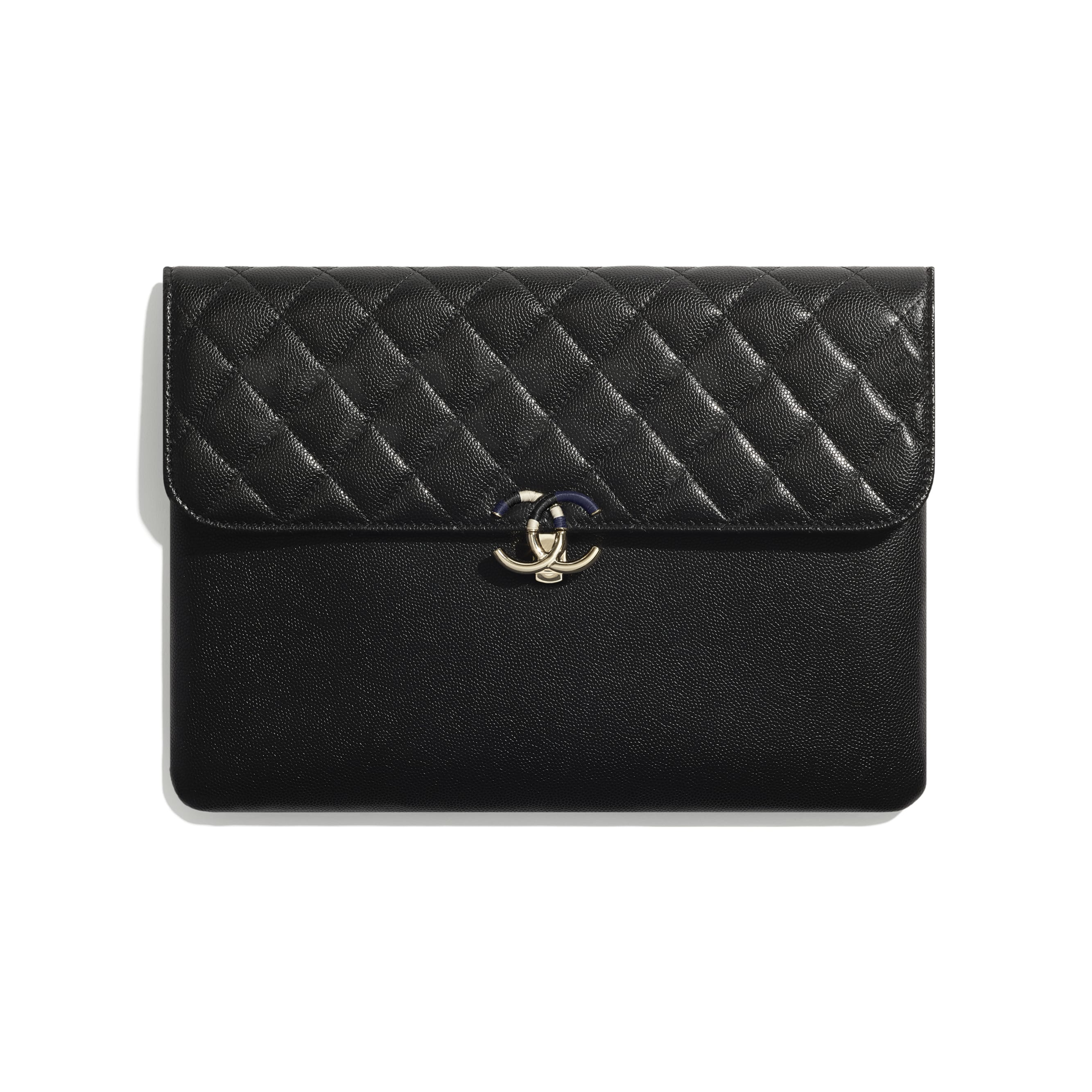 Flap Case - Black - Grained Calfskin & Gold-Tone Metal - CHANEL - Default view - see standard sized version