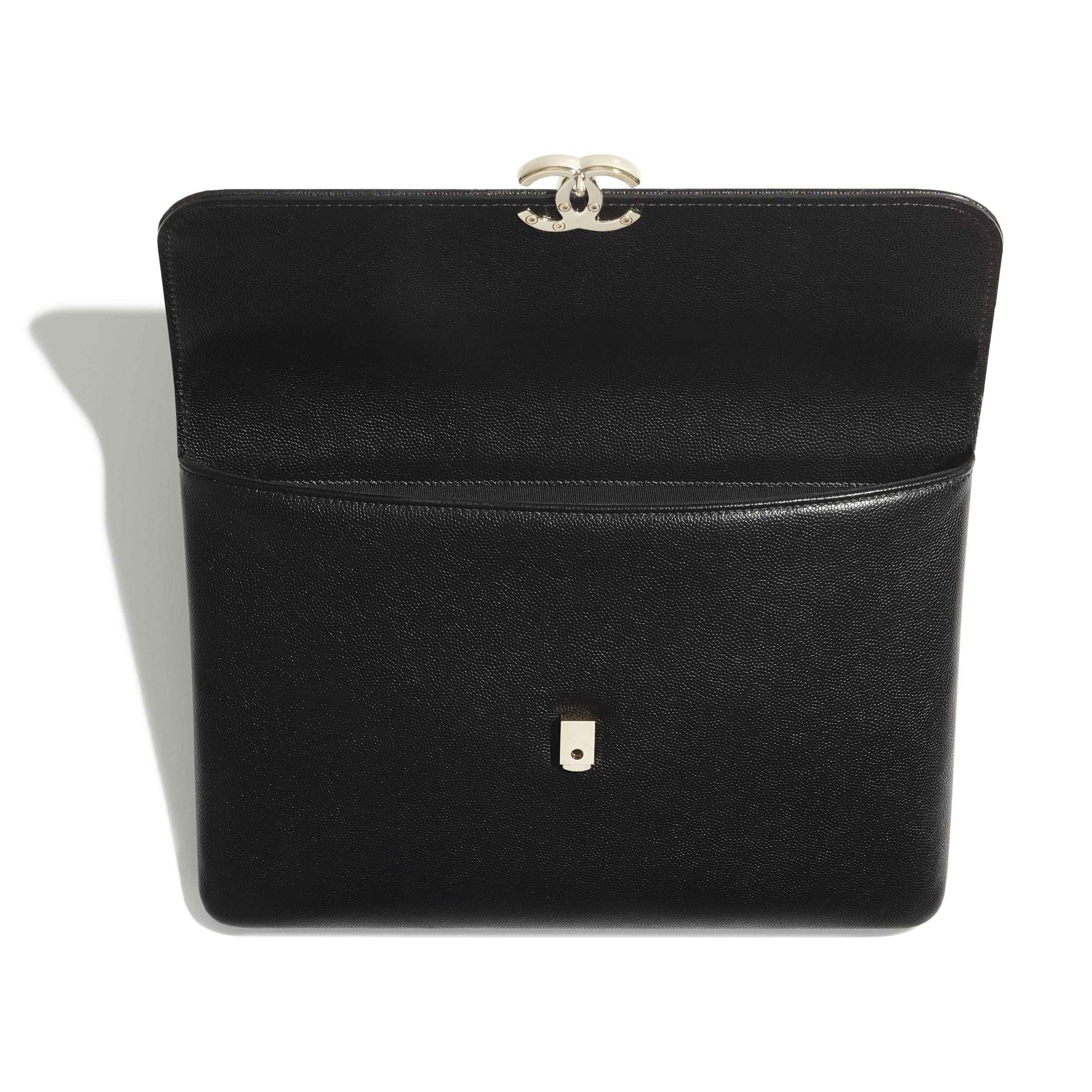 Flap Case - Black - Grained Calfskin & Gold-Tone Metal - CHANEL - Other view - see standard sized version