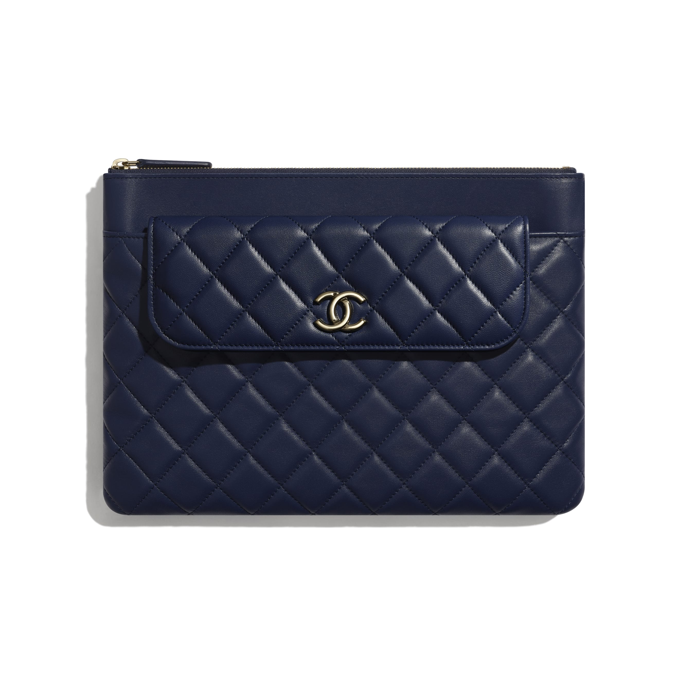 Flap Case - Navy Blue - Lambskin - Default view - see standard sized version