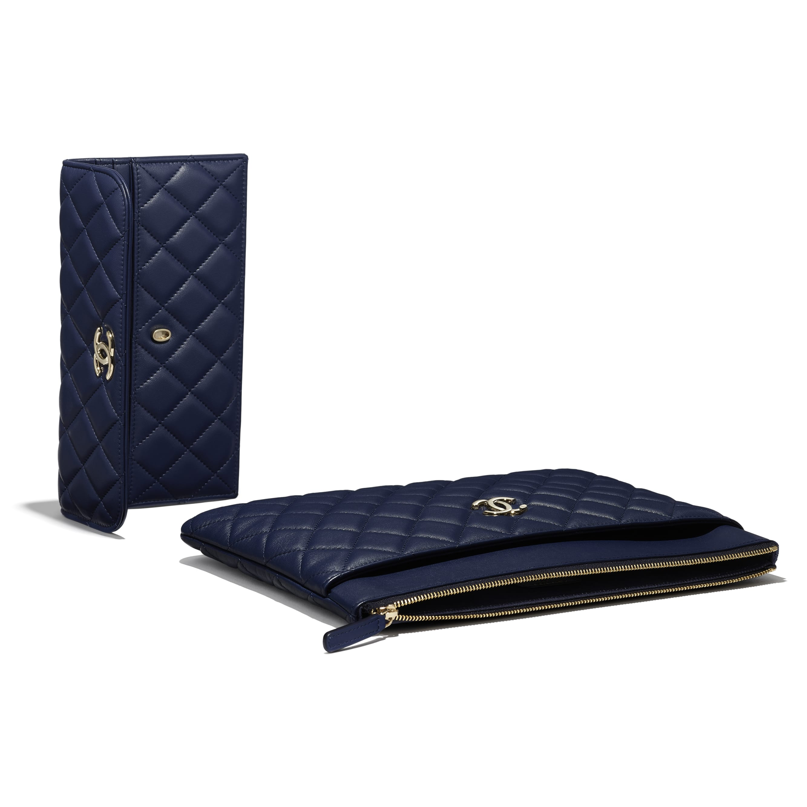 Flap Case - Navy Blue - Lambskin - Extra view - see standard sized version