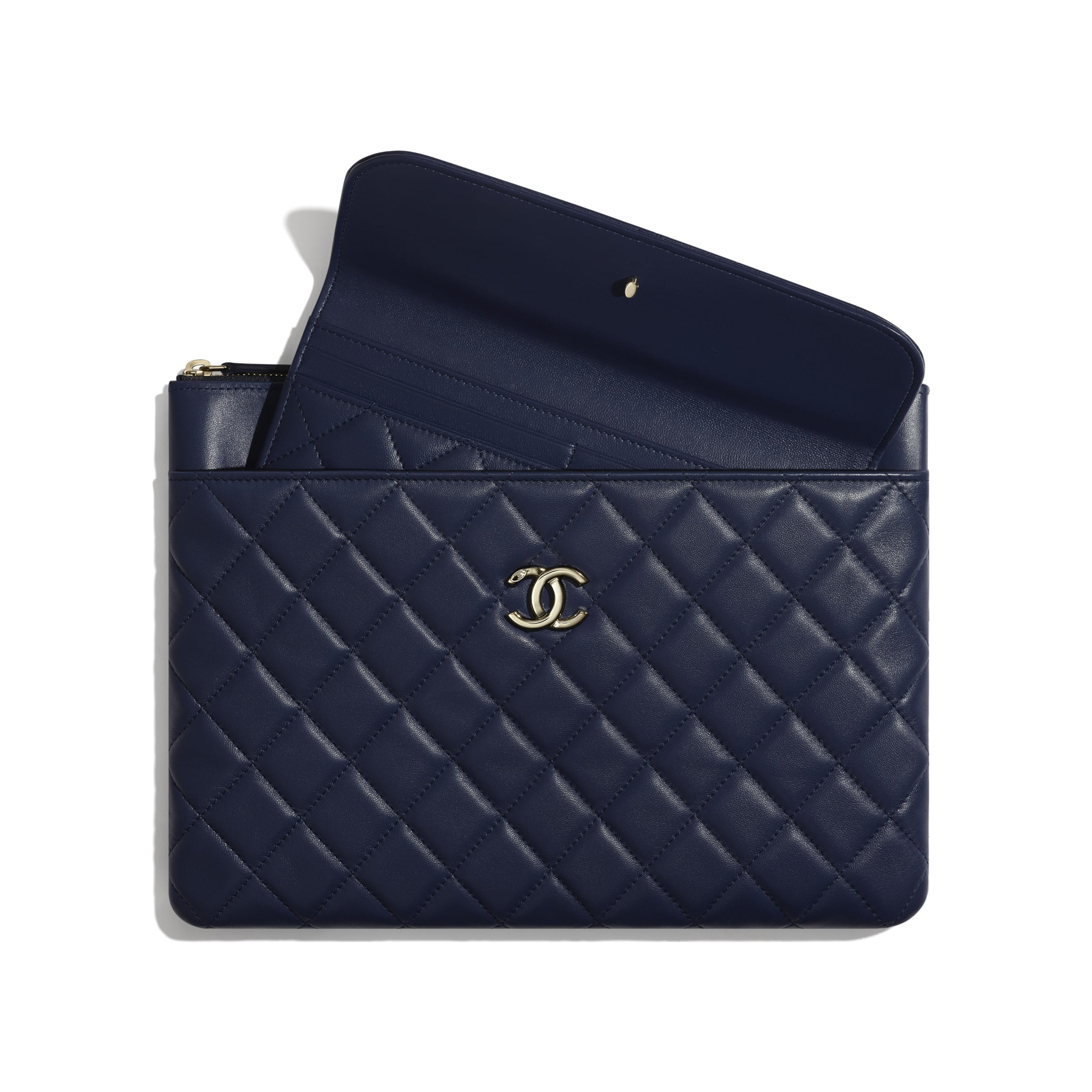 Flap Case - Navy Blue - Lambskin - Other view - see standard sized version