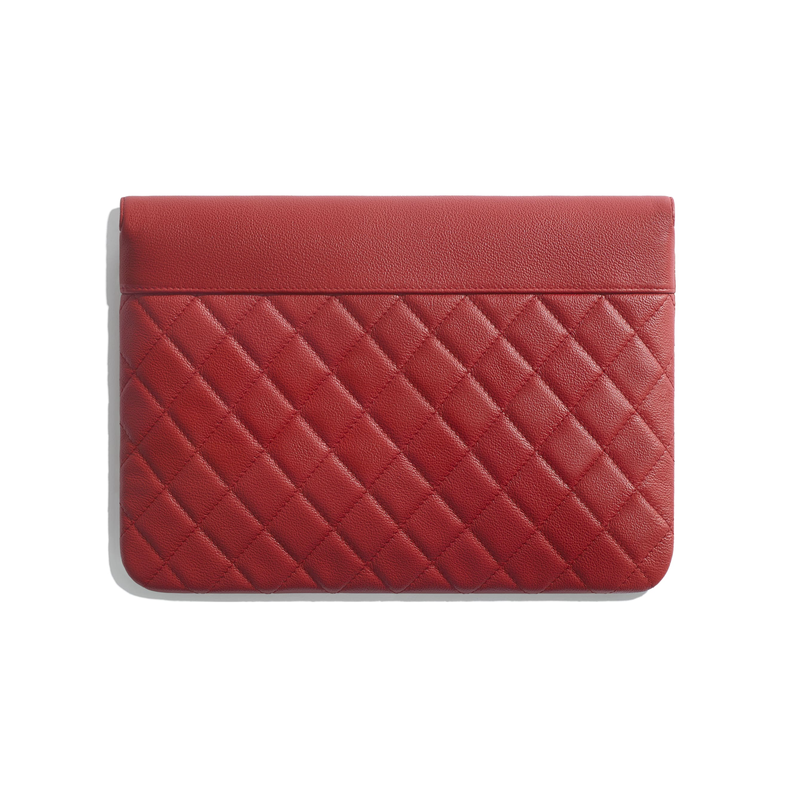 Flap Case - Red - Grained Calfskin & Silver Metal - Alternative view - see standard sized version