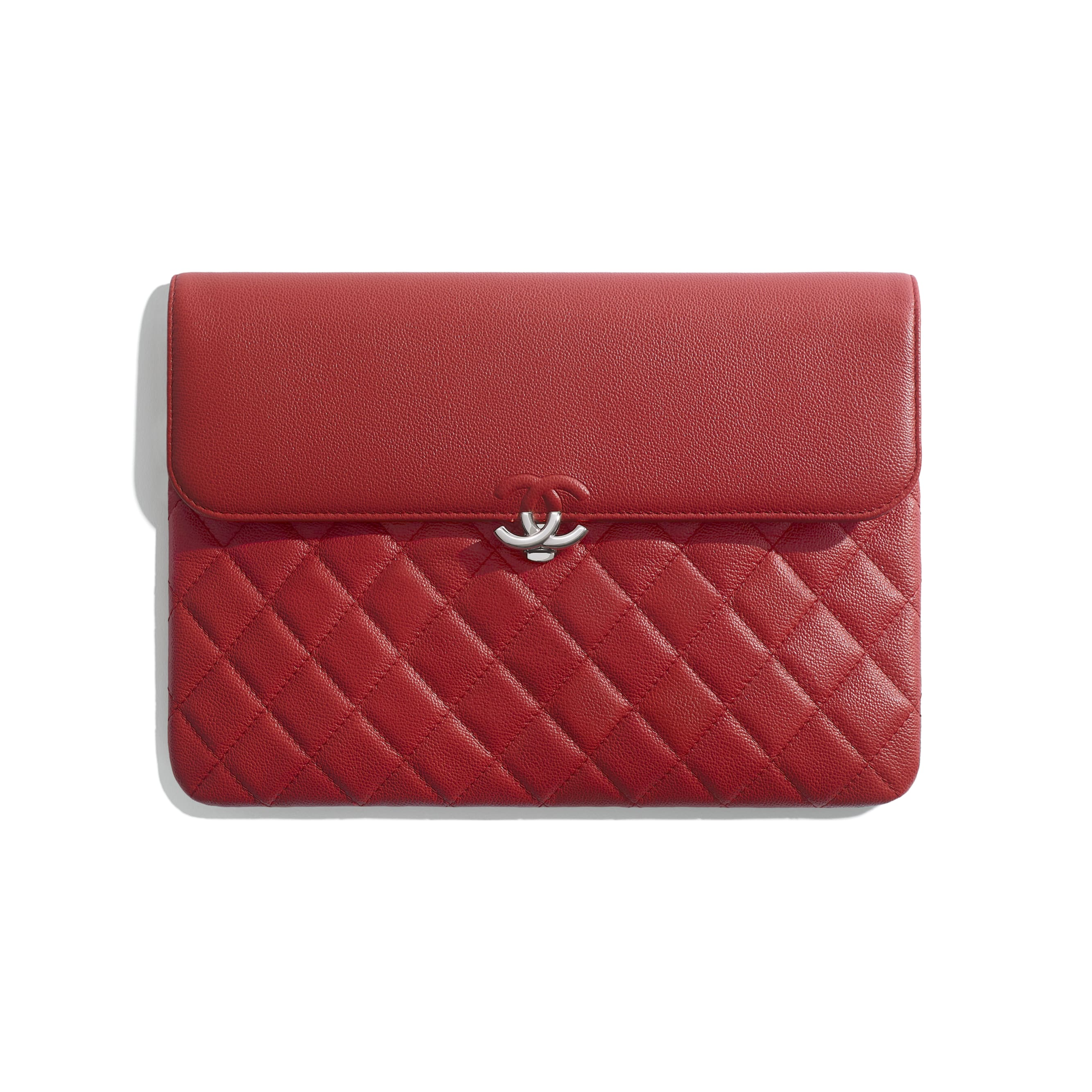 Flap Case - Red - Grained Calfskin & Silver Metal - CHANEL - Default view - see standard sized version