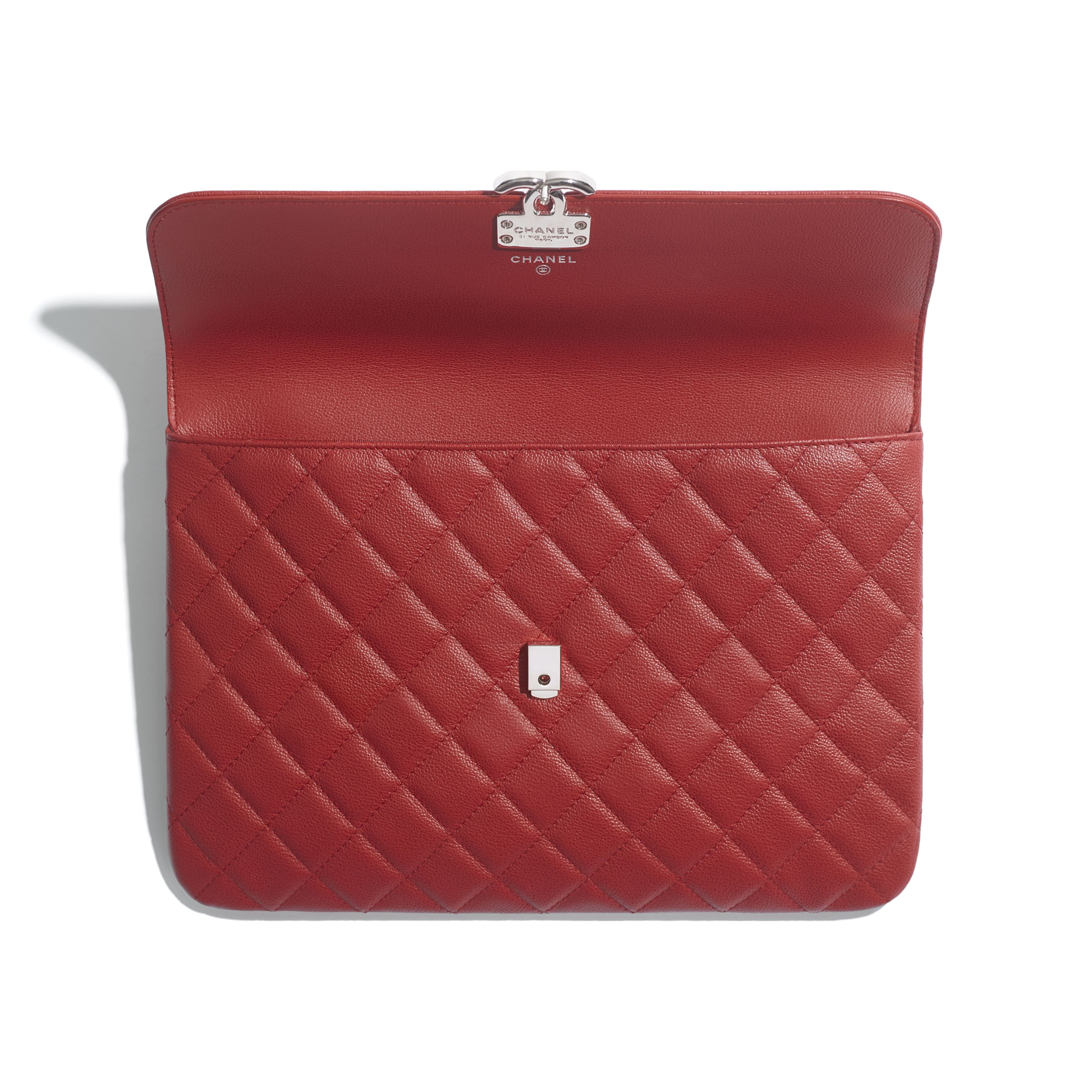 Flap Case - Red - Grained Calfskin & Silver Metal - Other view - see standard sized version